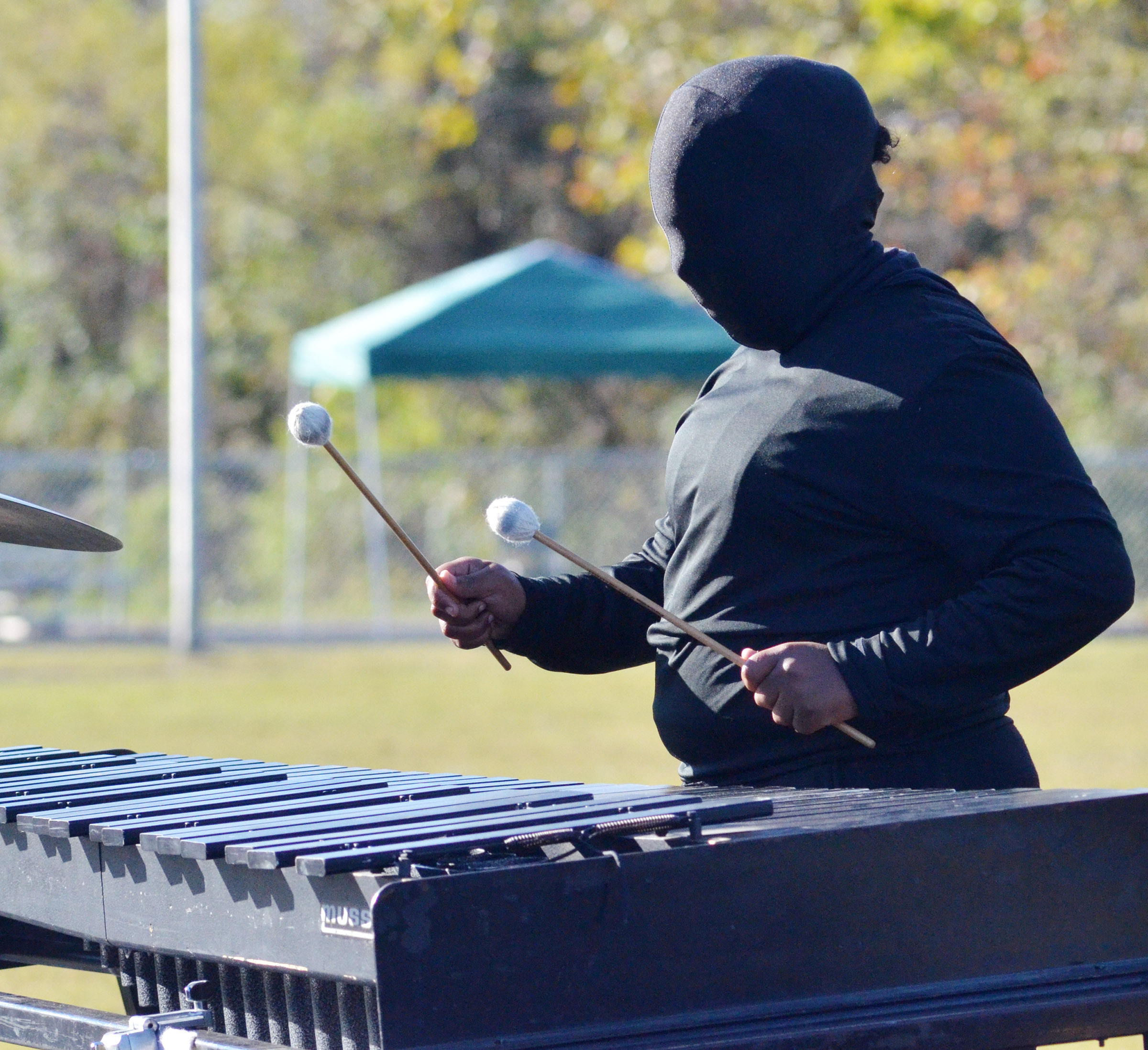 CHS sophomore Zaria Cowan performs with her fellow percussion players.