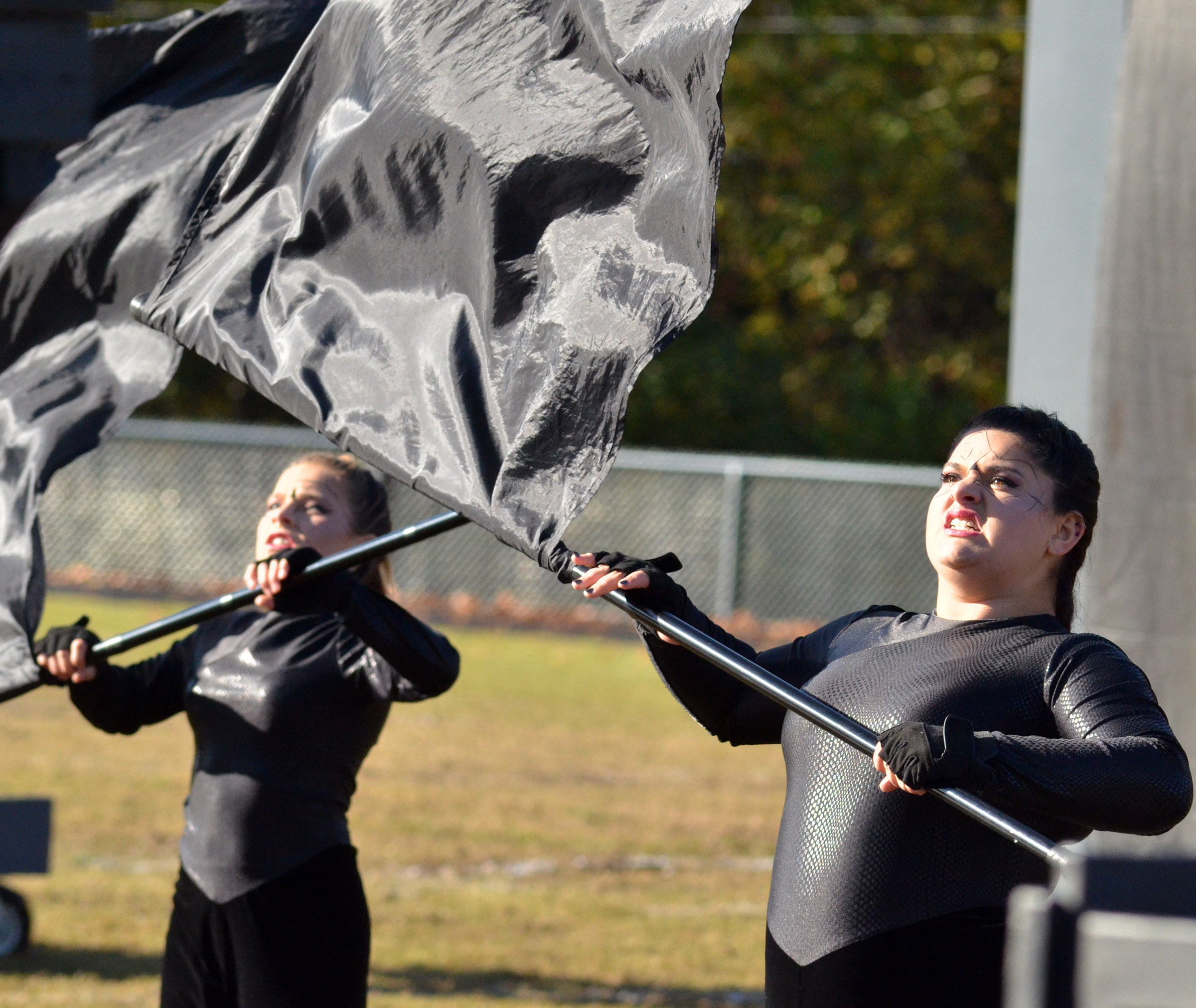 Campbellsville Middle School seventh-grader Alyssa Orberson, at left, and CHS sophomore Brandy Miller perform.