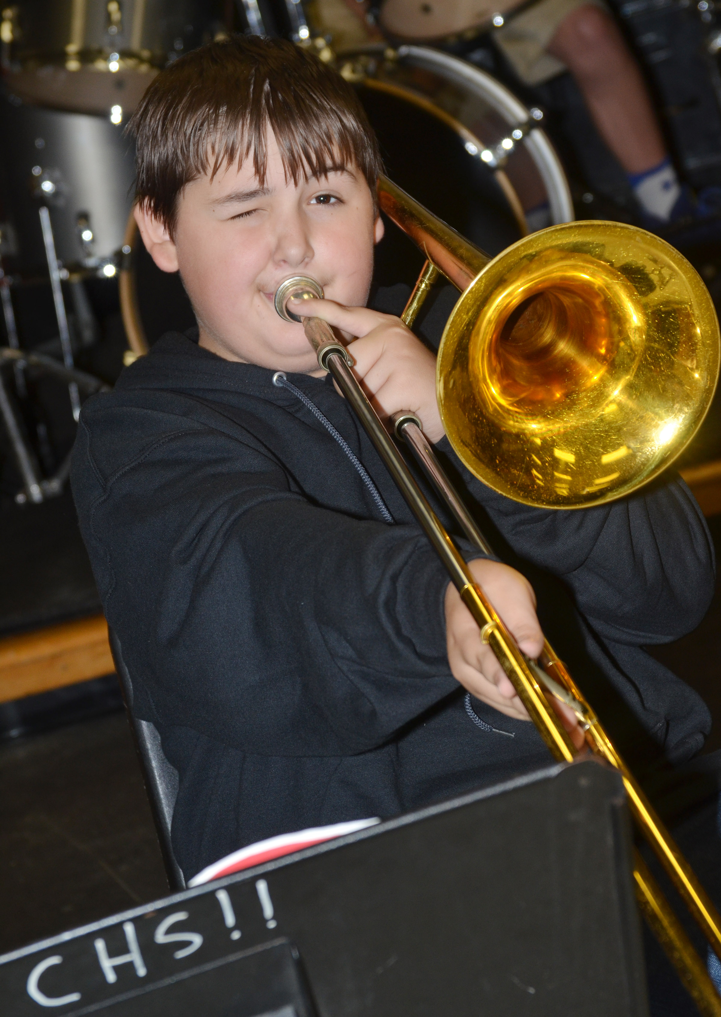 CES eighth-grader Kaine Terry plays trombone.