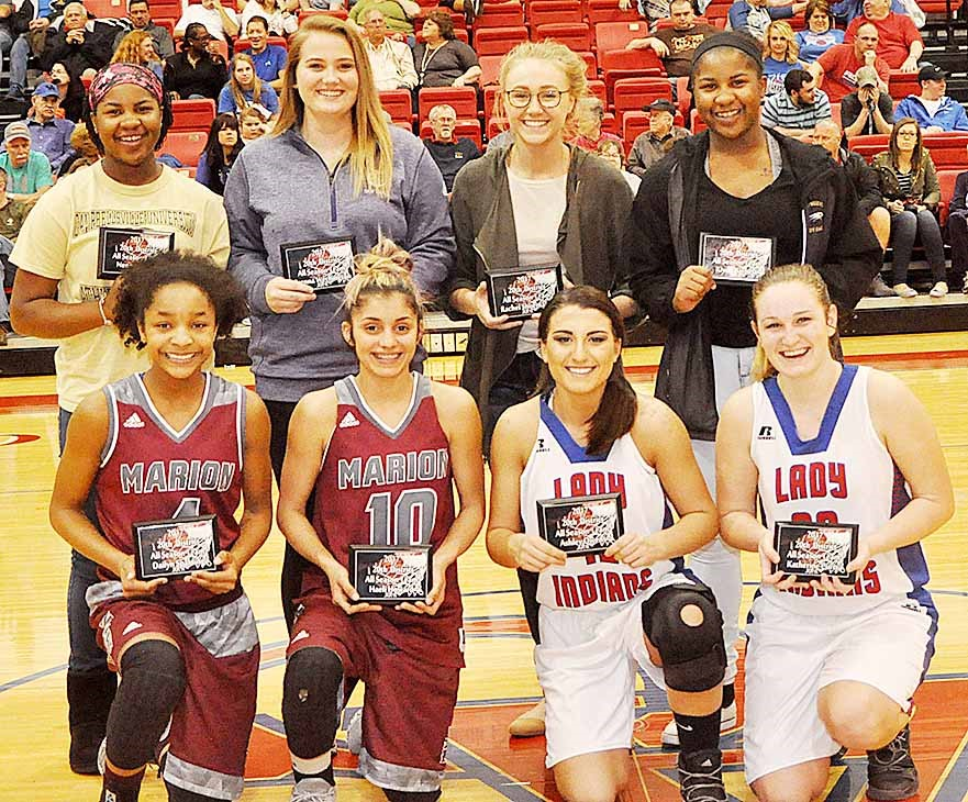CHS senior Brenna Wethington, in back, second from left, and juniors Nena Barnett, in back, at right, and Kiyah Barnett, in back, at left, were named to the 20th District all-season team.