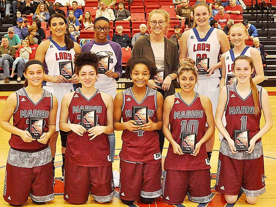 Campbellsville Middle School seventh-grader Bri Gowdy, in back, second from left, was named to the 20th District all-tournament team.
