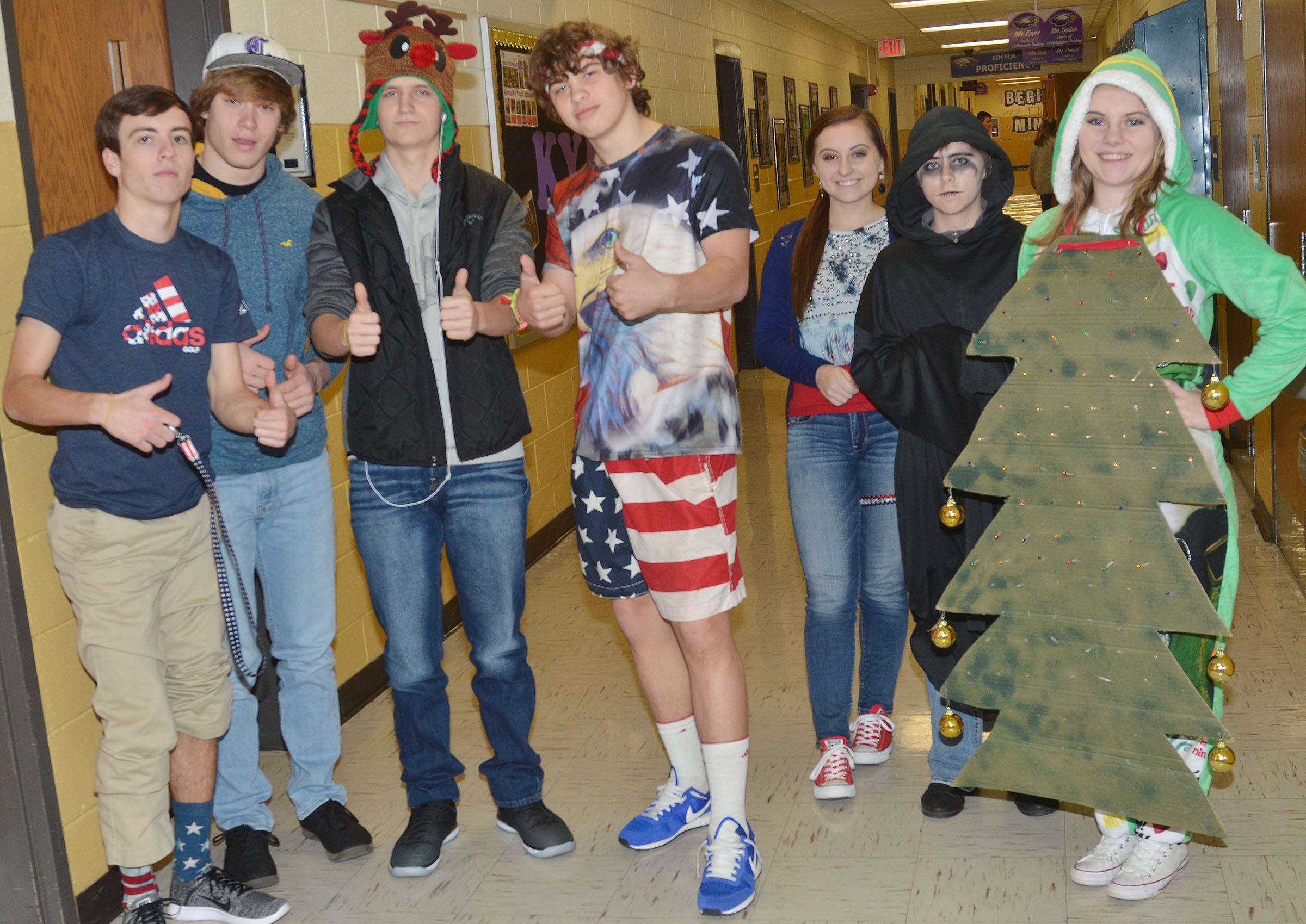 CHS students and teachers dress for Holiday Day.