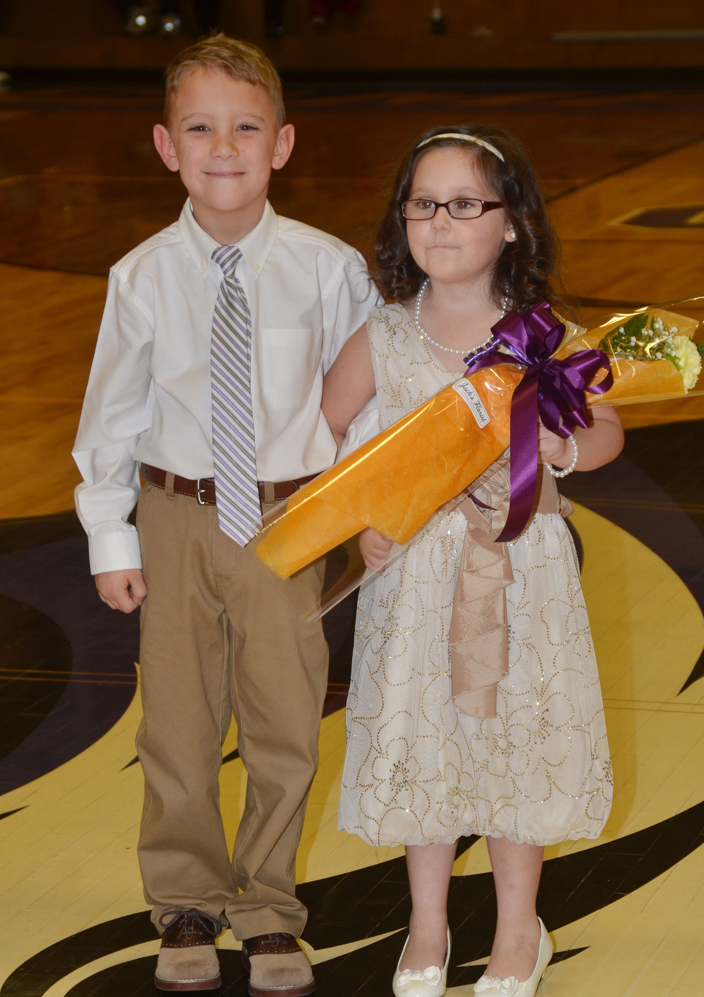 Campbellsville Elementary School first-grader Gabe Prior and kindergartener Trinity Clark were the crown bearers.