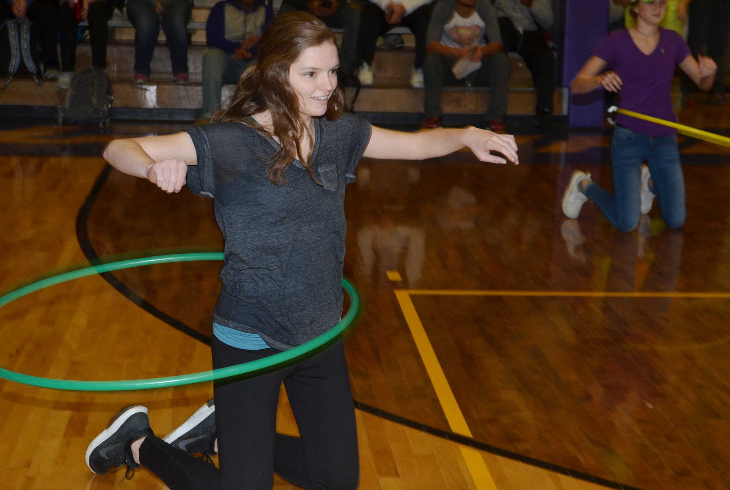 CHS students play the hula hoop spirit game.