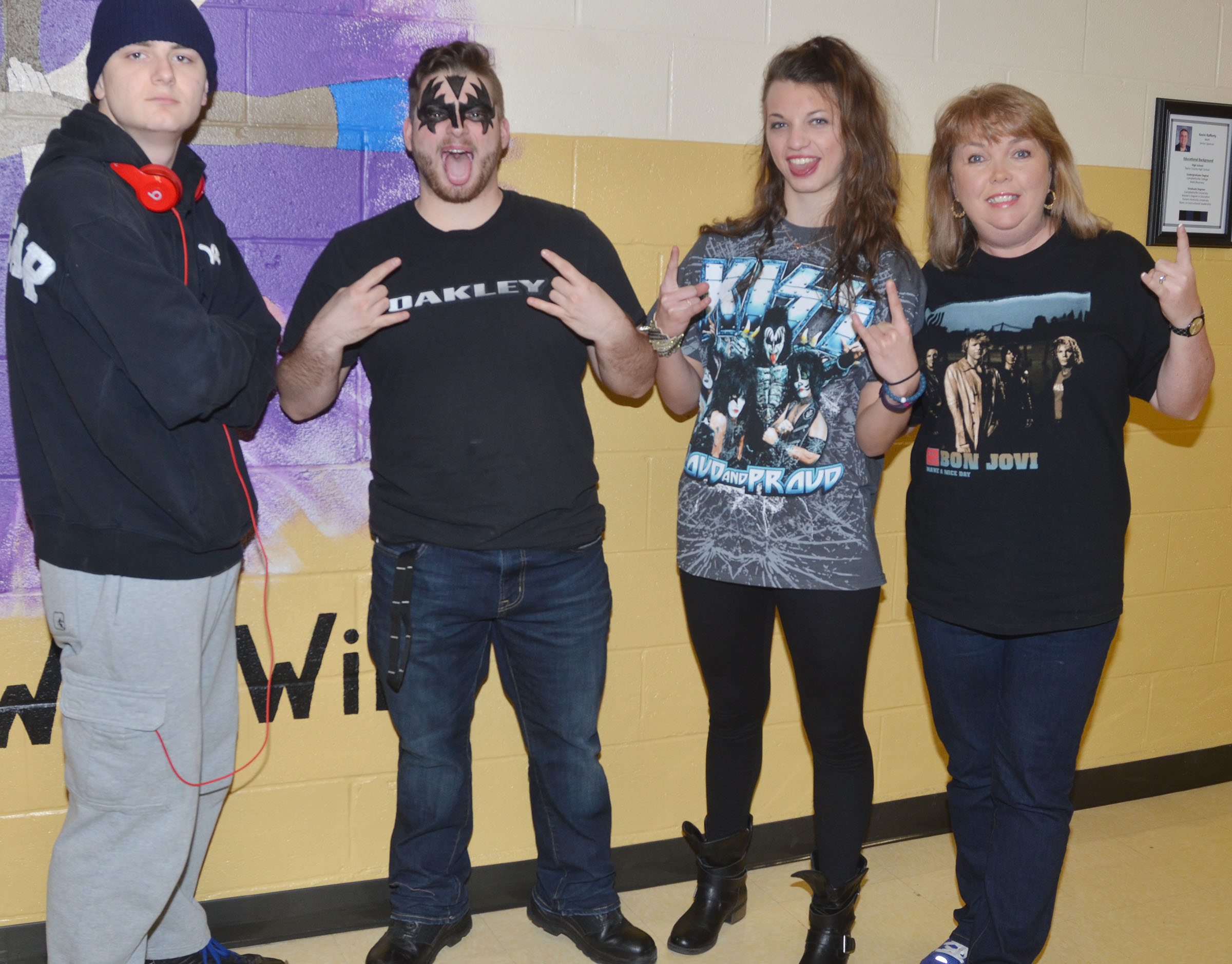 CHS students and teachers dress for Rockers vs. Rappers Day.
