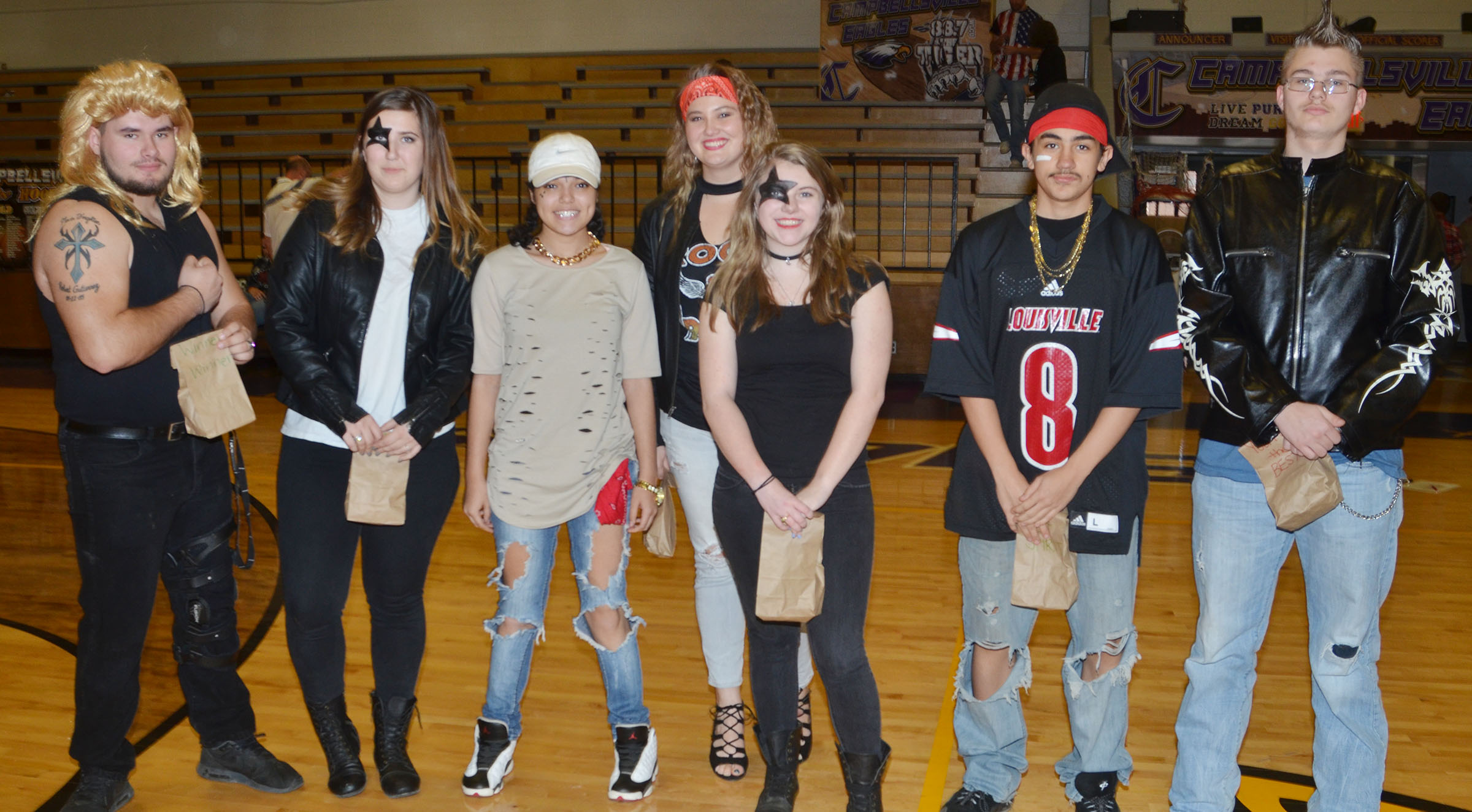 CHS students receive prizes for dressing the best on Rockers vs. Rappers Day.