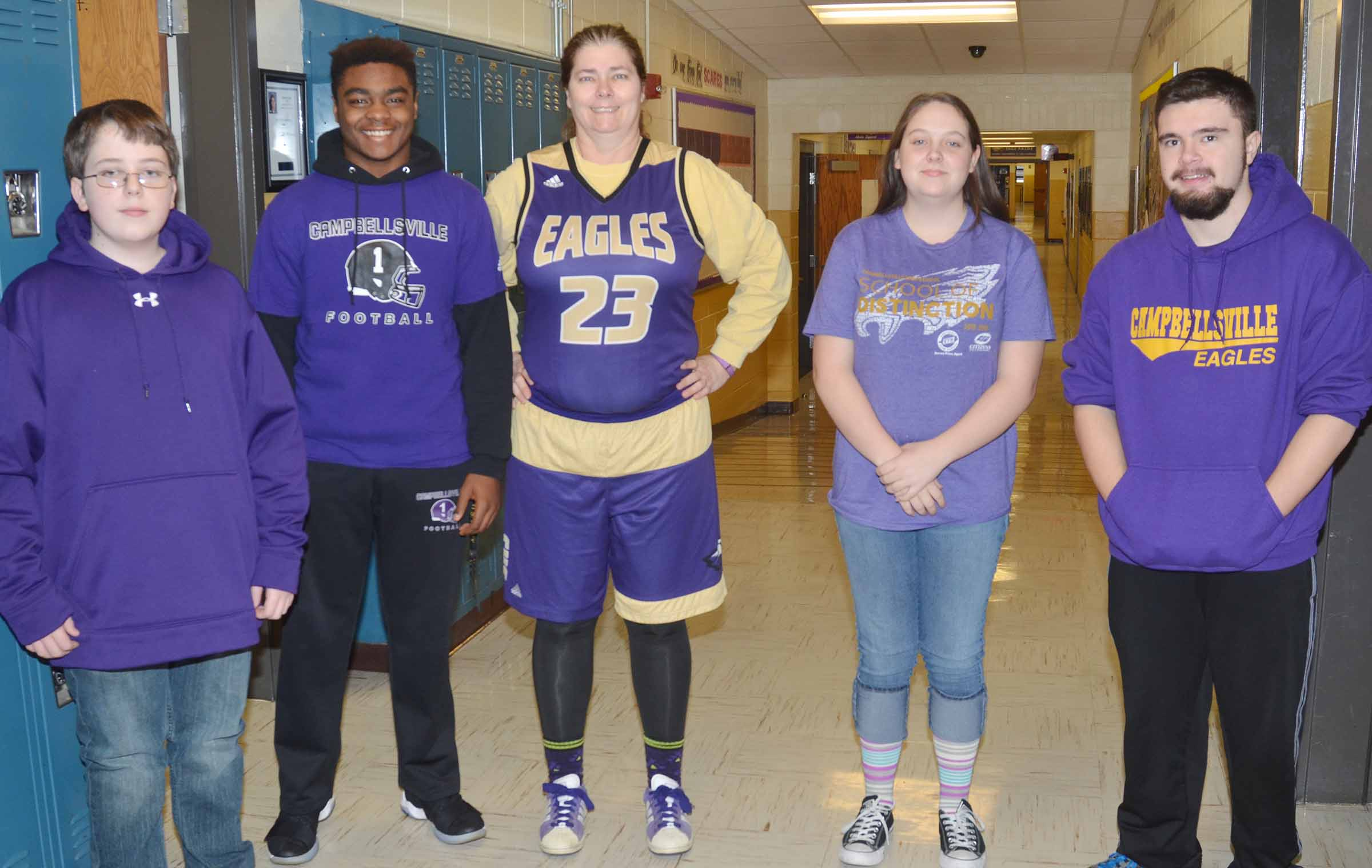 CHS students and teachers dress in purple and gold for Spirit Day.