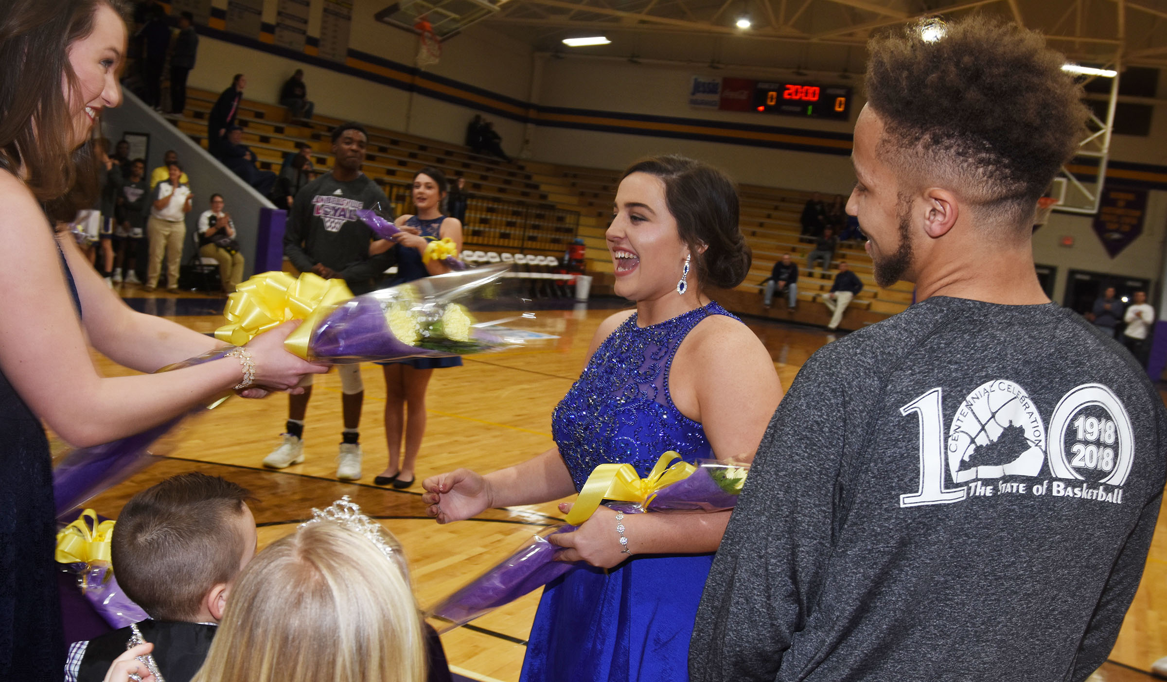 Caylie Blair, last year's homecoming queen, congratulates CHS senior Caitlin Bright as she is named homecoming queen.