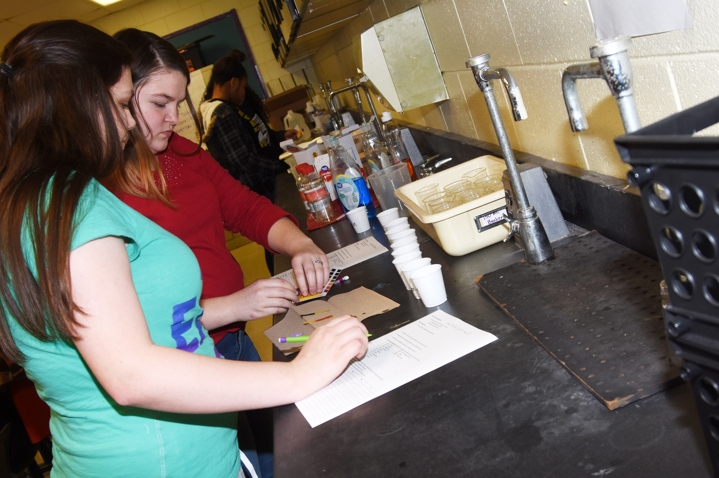 CHS sophomores Shelby Hunt, at left, and Briana Brown perform a litmus test.