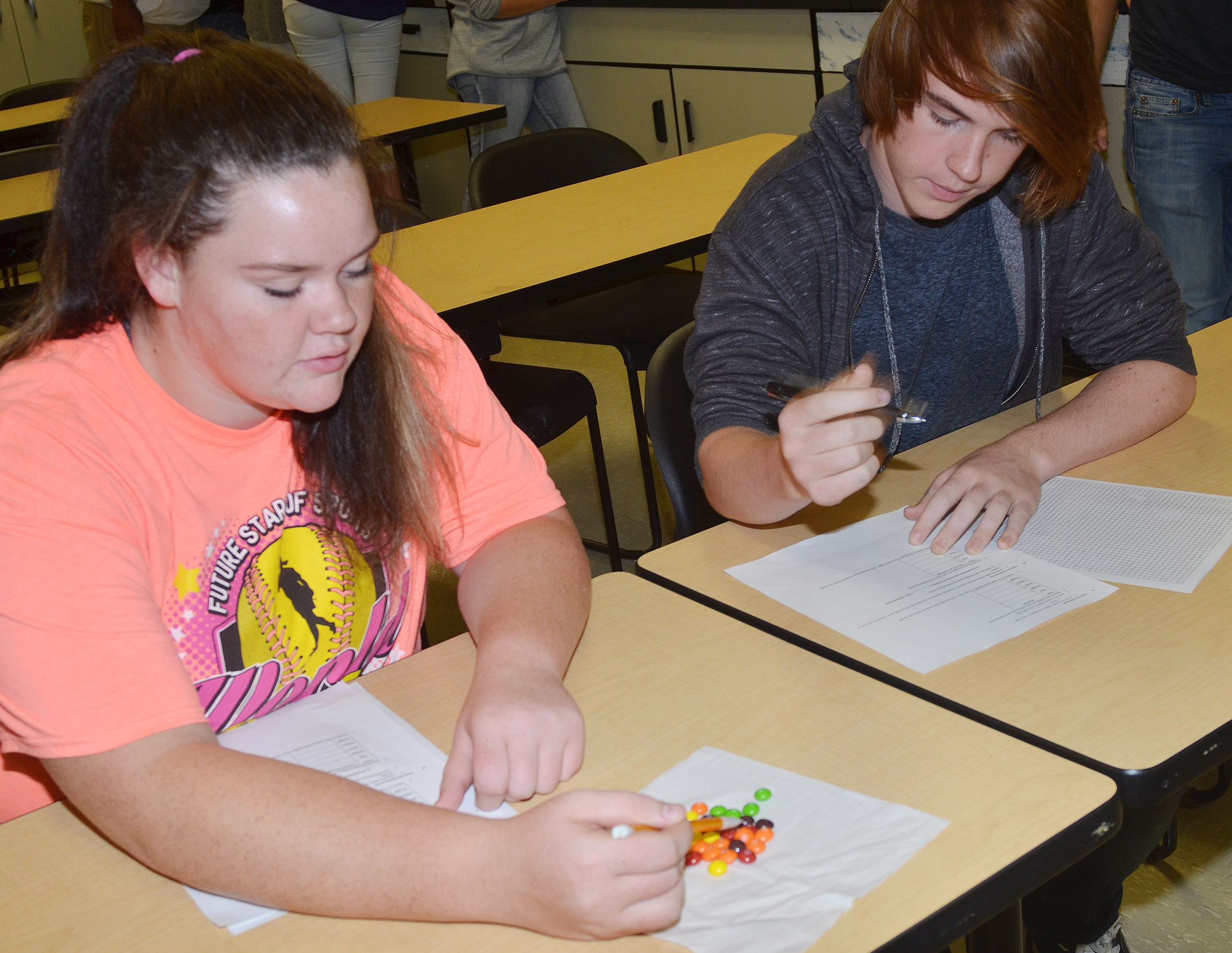 CHS sophomores Shallan Philpott, at left, and Jason Agee count and sort their Skittle candies.