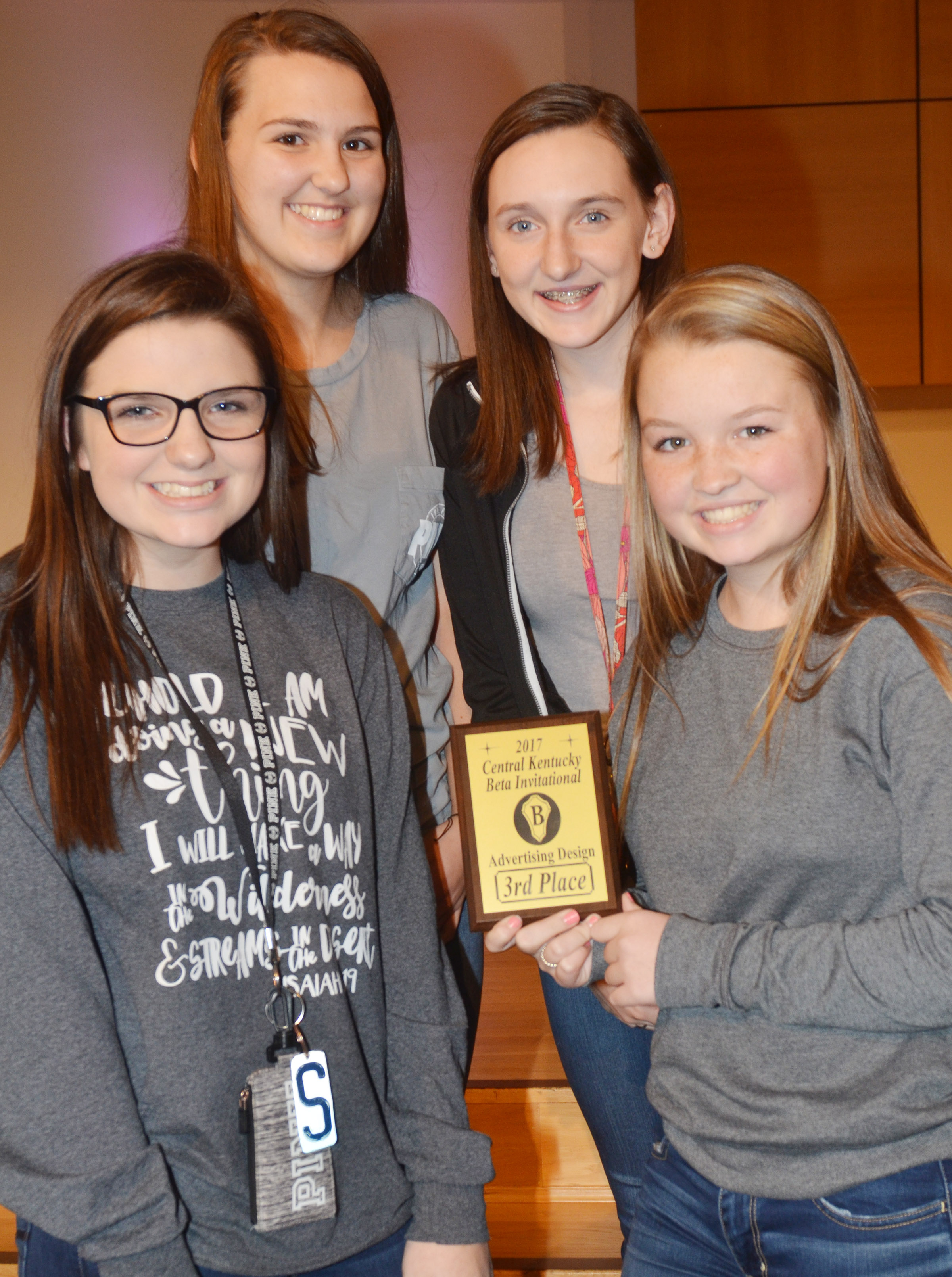 CHS Beta Club members brought home several awards on Thursday, Oct. 19, at the annual Central Kentucky Beta Invitational. From left, Sydney Wilson, Haley Morris, Zoe McAninch and Kaleigh Hunt won third place in the advertising design competition.
