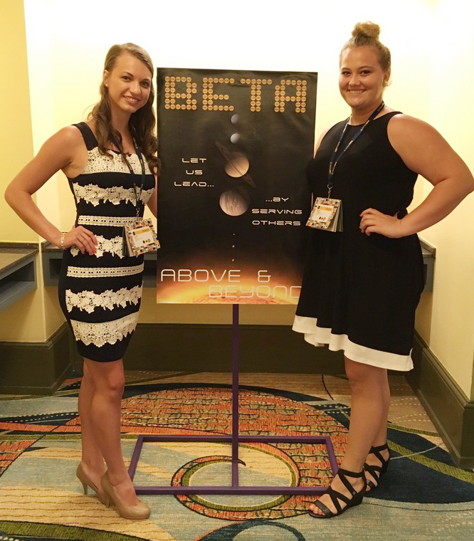 Caylie Blair, at left, and Brenna Wethington, who graduated from Campbellsville High School in May, recently competed at the national Beta convention in Orlando, Fla. The two competed in the banner category.