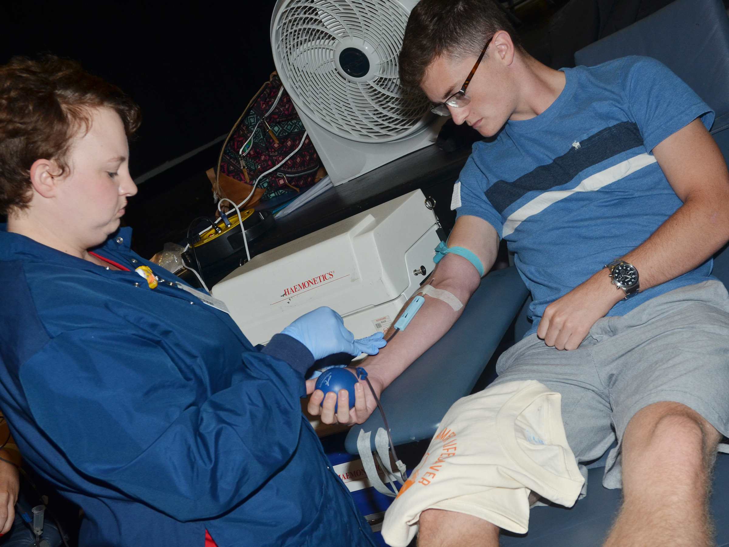 CHS senior Bryce Richardson donates blood.