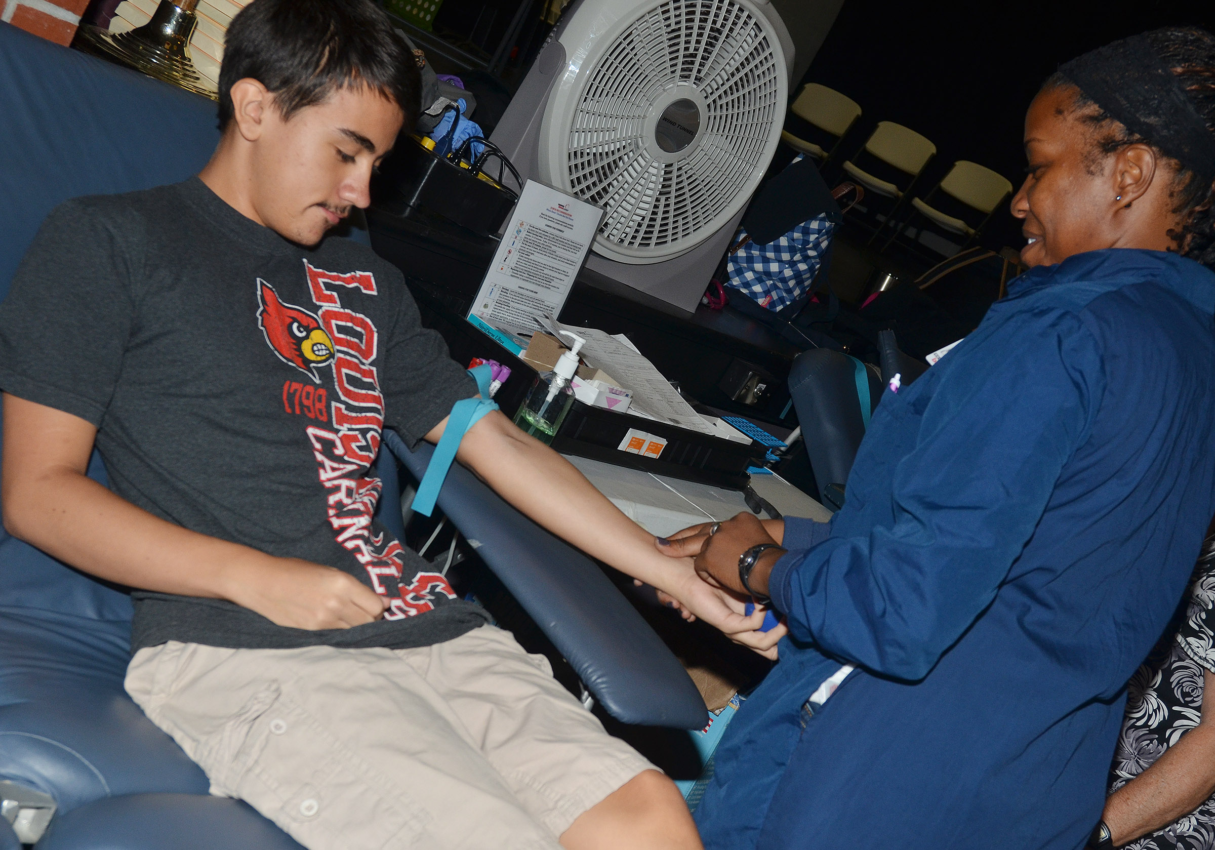 CHS junior Glenn Lamer donates blood.