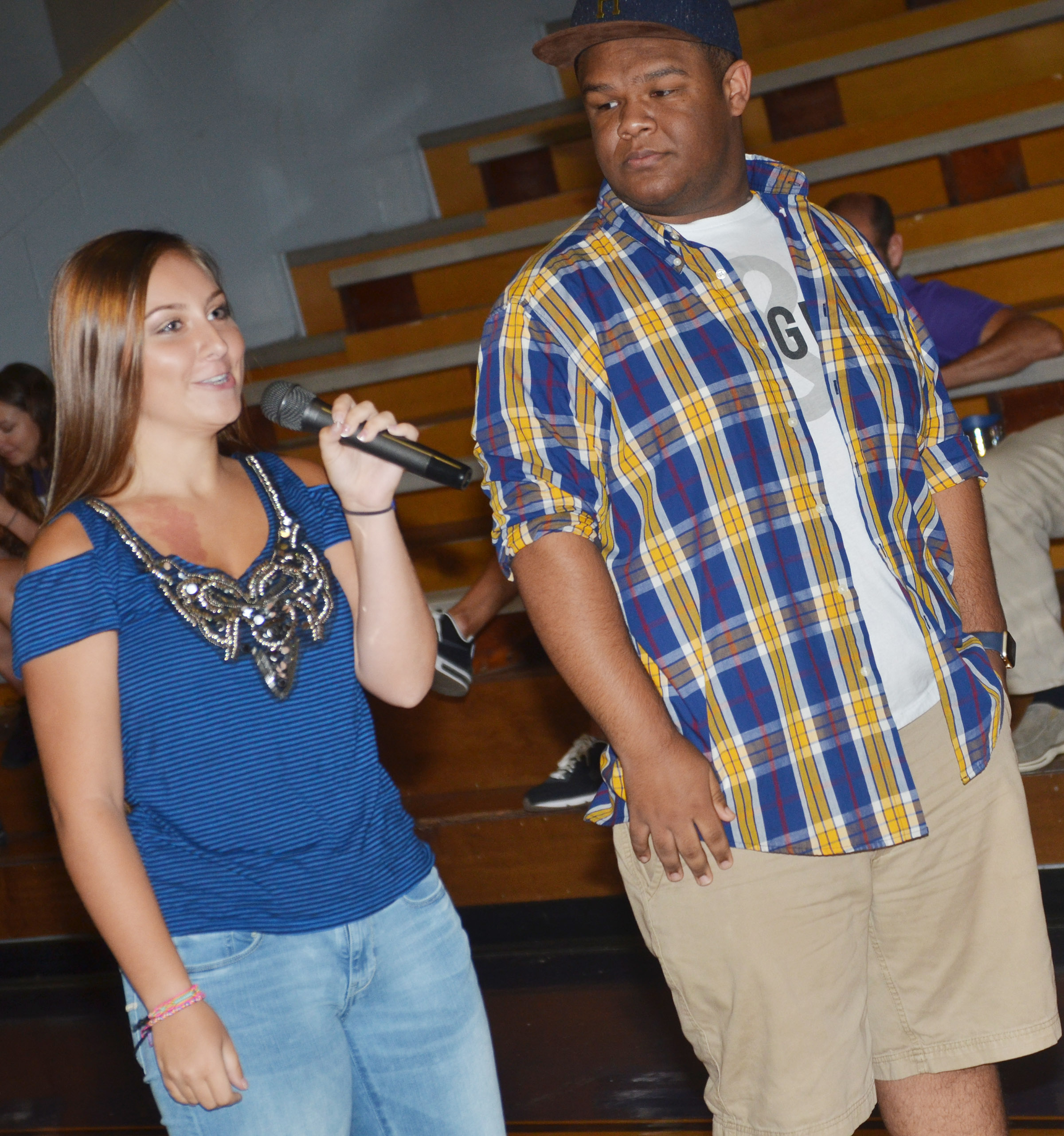 CHS juniors Reagan Knight, at left, and Jeremiah Jackson talk to freshmen about the Y-Club.