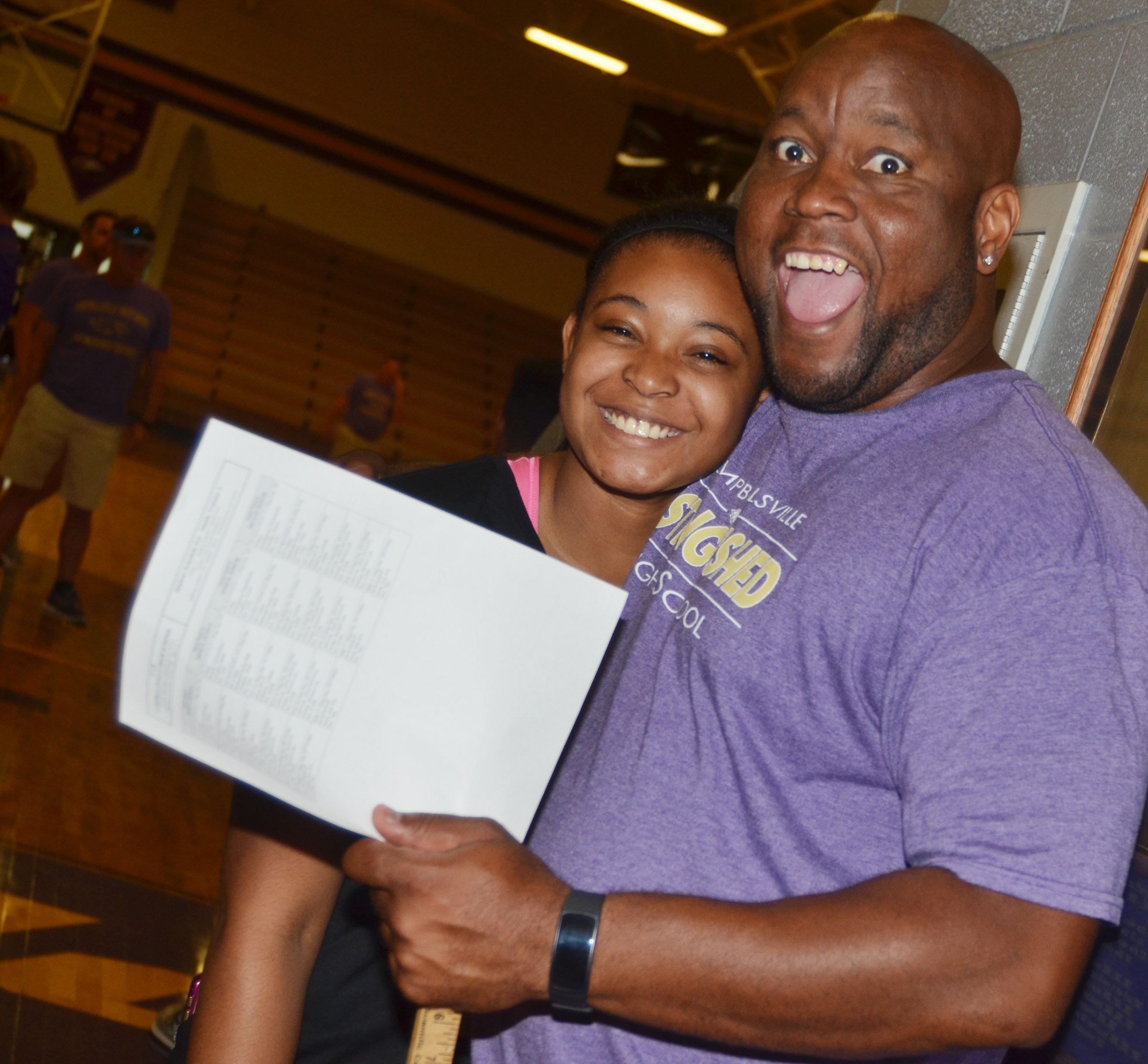 CHS exceptional child educator Anthony Epps poses for a photo with senior Vonnea Smith.