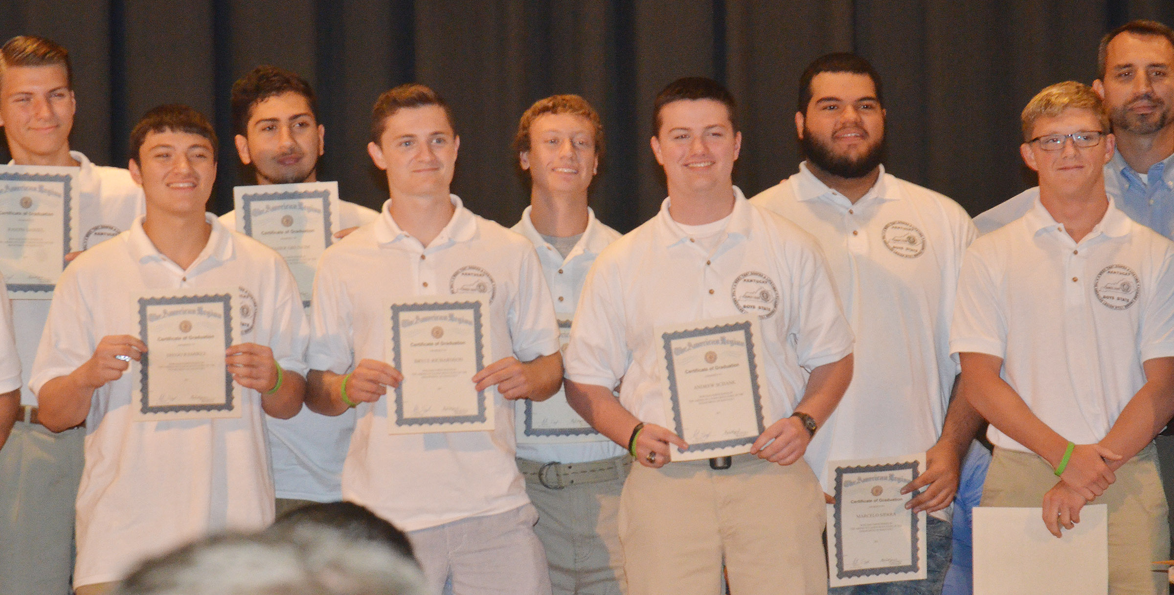 CHS senior Bryce Richardson, front, second from left, is honored at the Boys State graduation ceremony.
