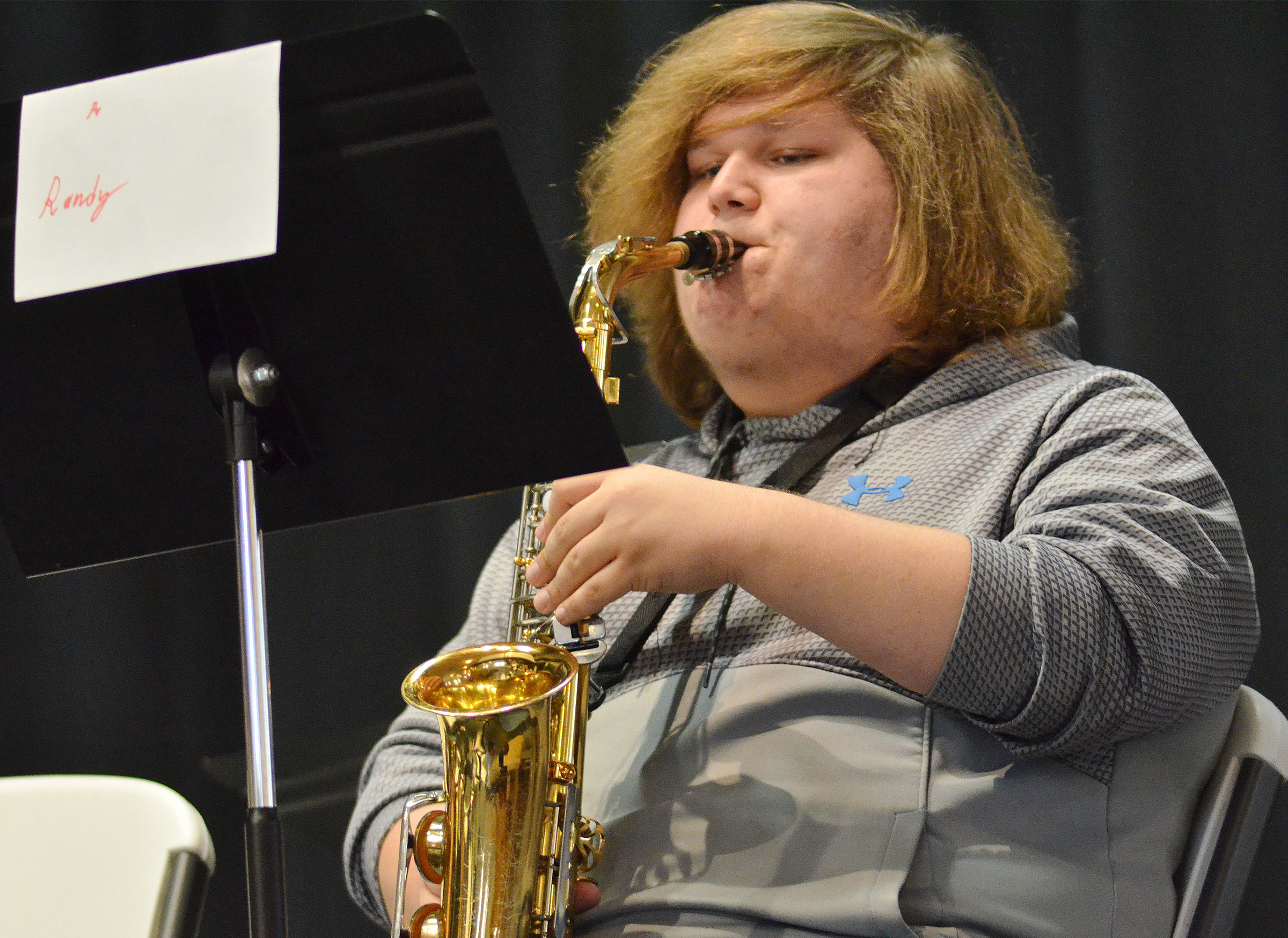 CHS sophomore Randy Harris plays saxophone.