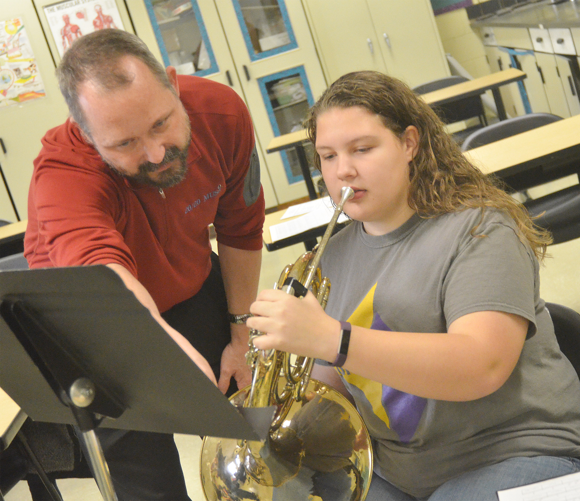 CHS freshman Abie Angel works with guest instructor Tony Barrett.