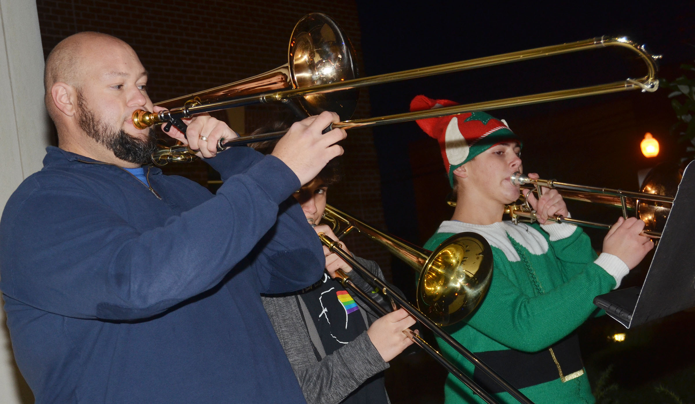 CHS Band Director Zach Shelton plays trombone.