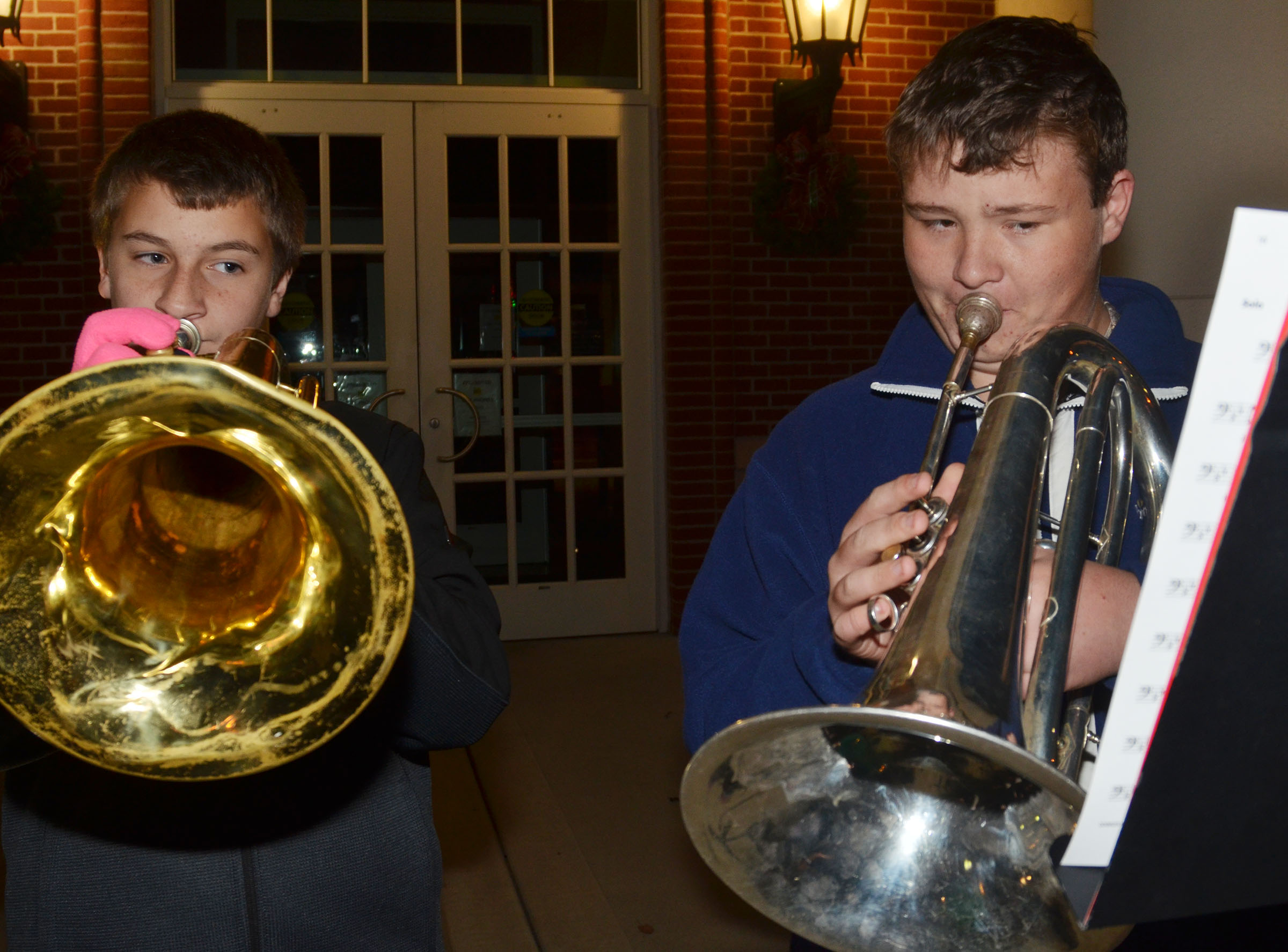 Campbellsville Middle School eighth-grader Nick Drew, at left, and CHS freshman Conner Riley play baritone.