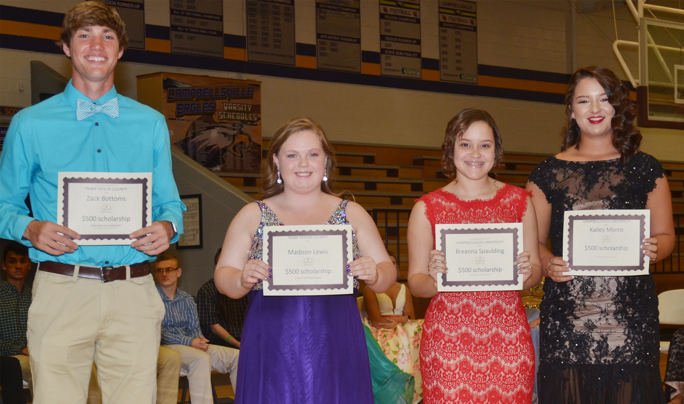 Receiving Taylor County Education Consortium scholarships are, from left, Zack Bottoms, Madison Lewis, Breanna Spaulding and Kailey Morris.