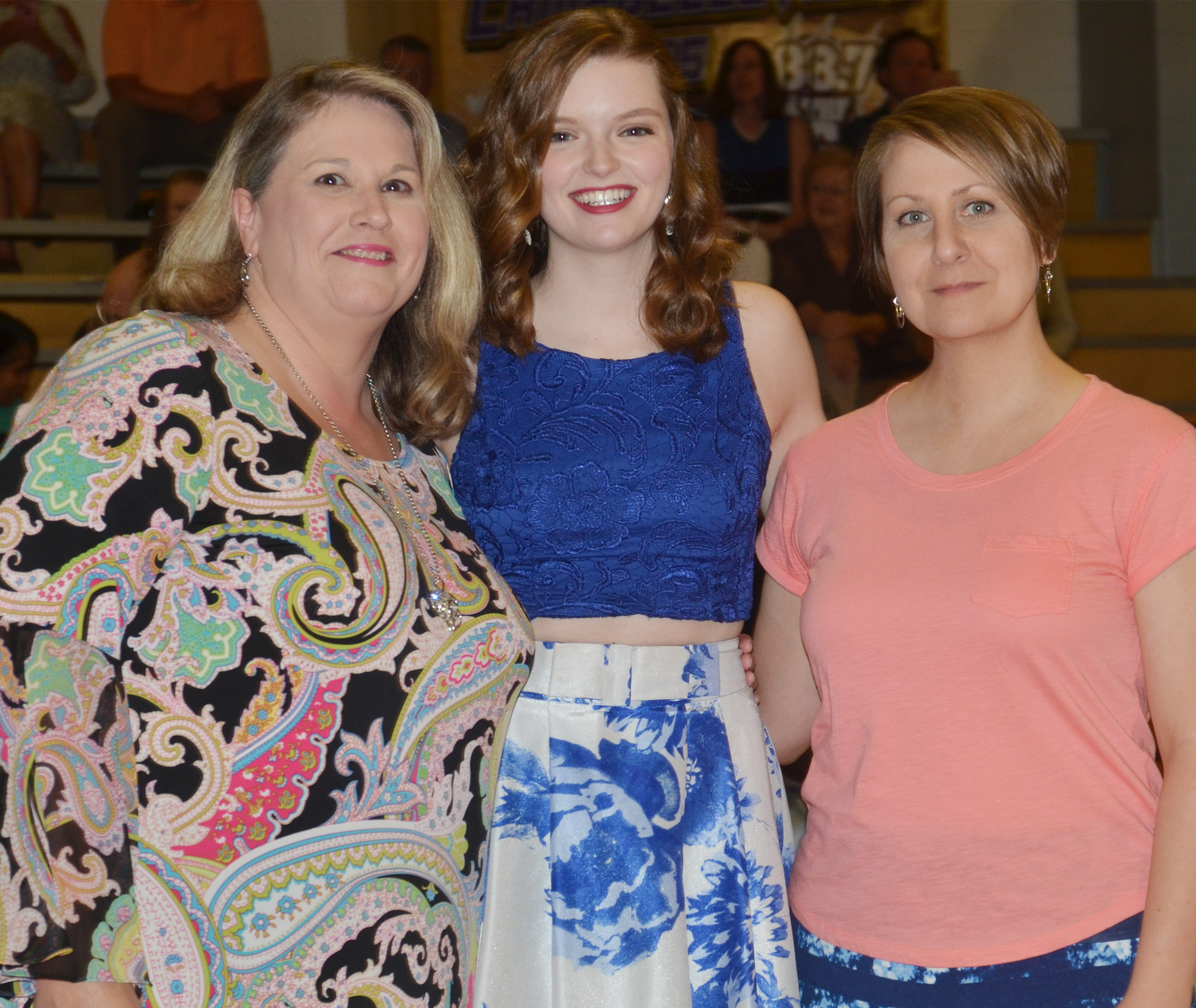 Blair Lamb receives the music award. She is pictured with music teachers and choir directors Cyndi Chadwick, at left, and Jessica Floyd.