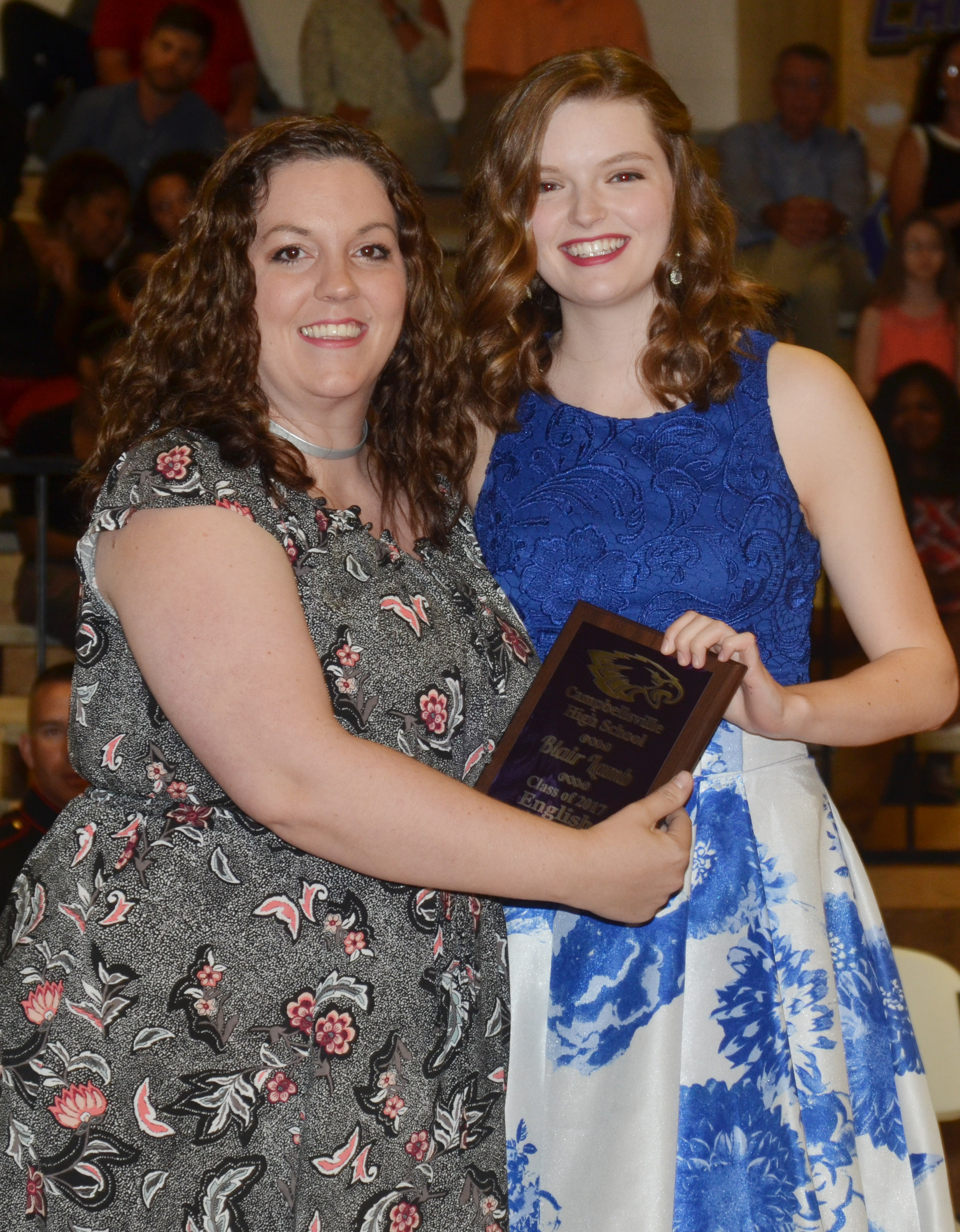 Blair Lamb receives the English award. She is pictured with English teacher Lindsay Williams.