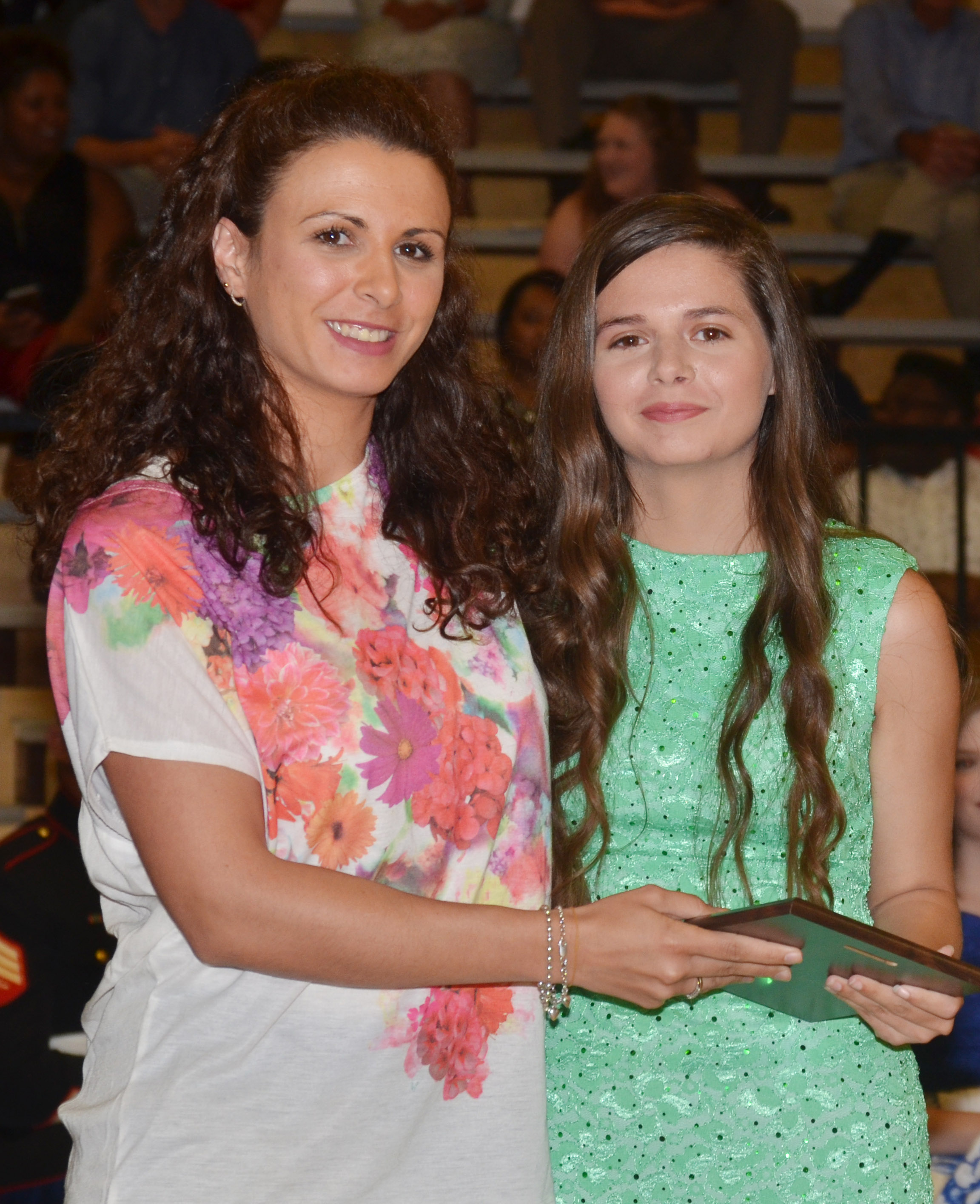 Shauna Jones receives the foreign language award. She is pictured with Spanish teacher Leticia Lopez.