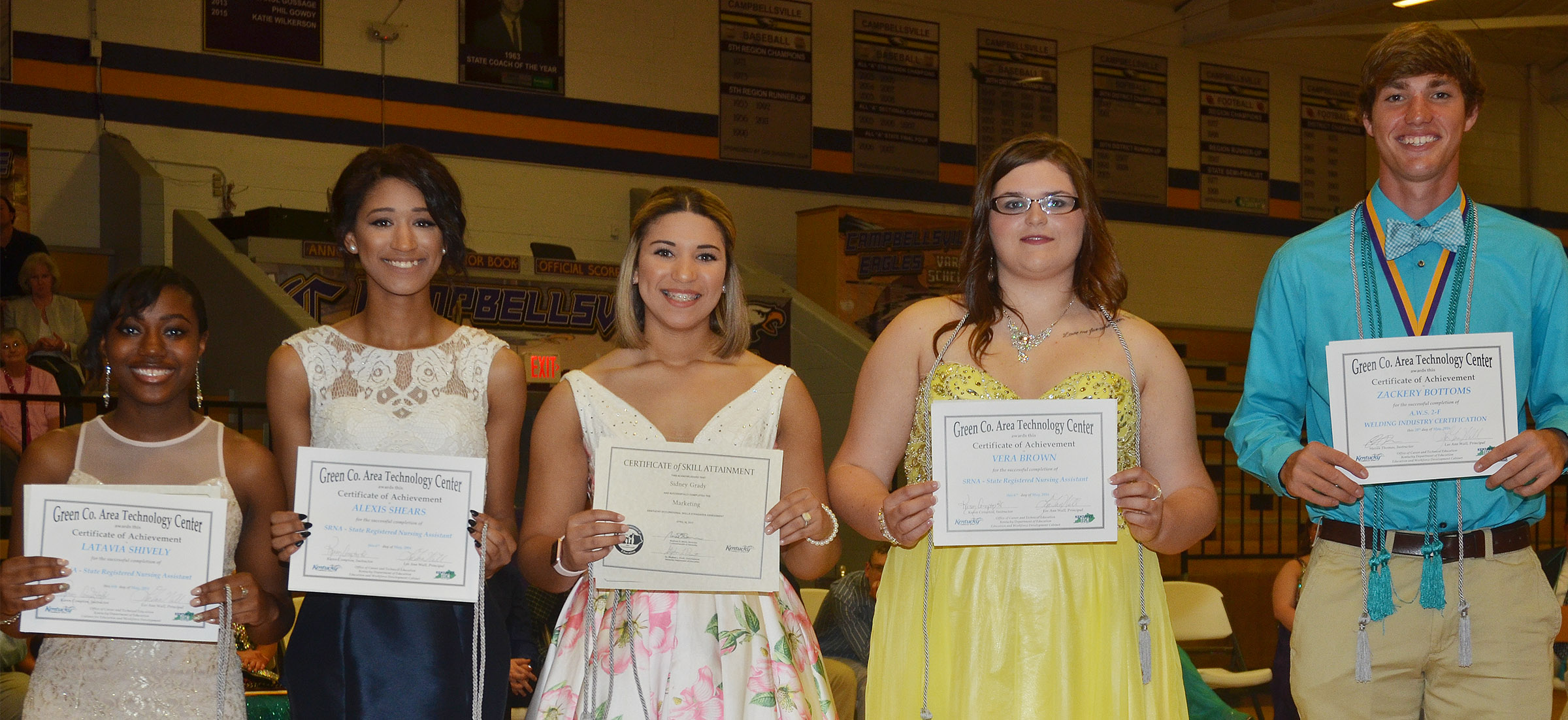 Receiving awards from the Green County Area Technology Center are, from left, Latavia Shively, Lexi Shears, Sidney Grady, Vera Brown and Zack Bottoms.