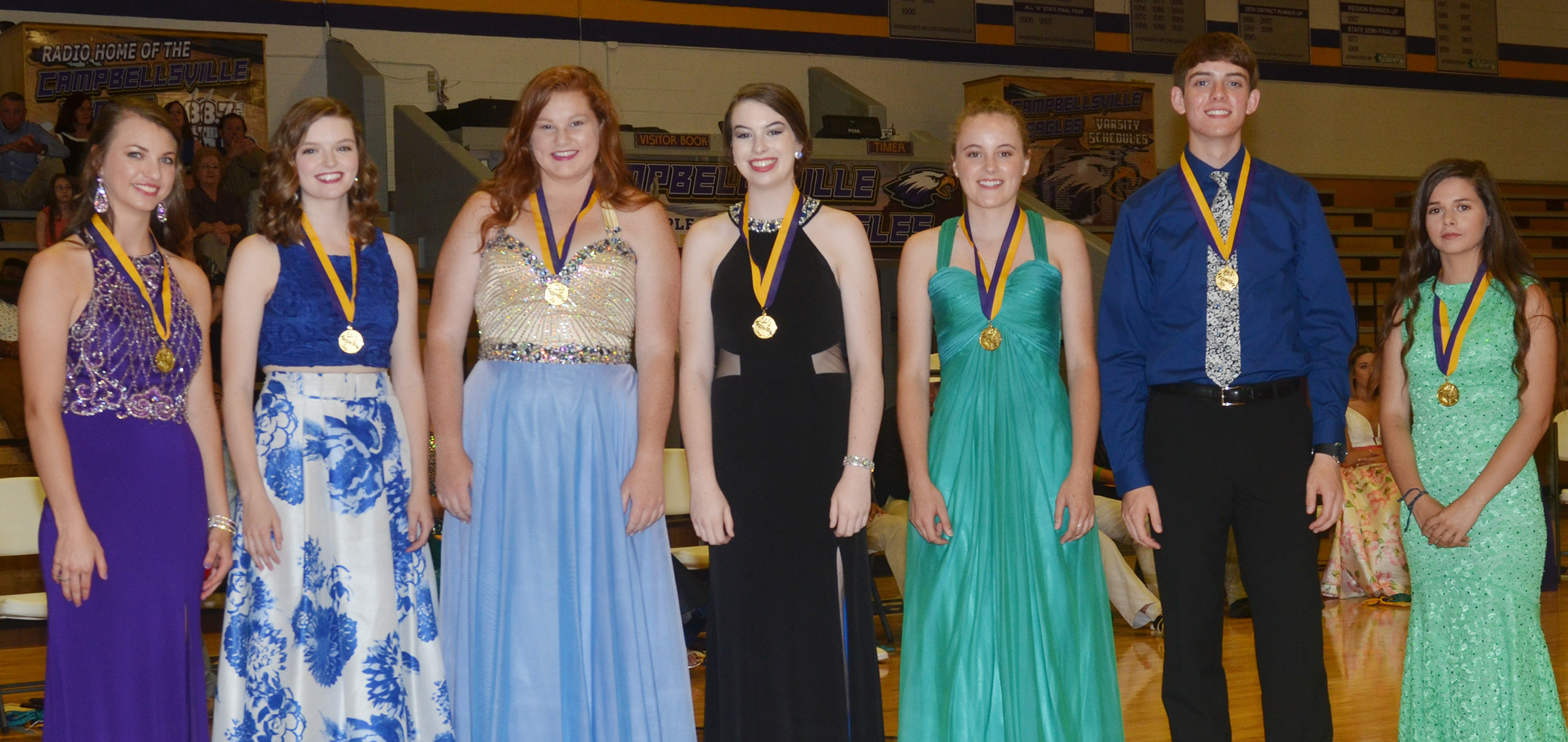 Receiving the Eagle award for having a GPA between 3.85 and 4.0 are, from left, Caylie Blair, Blair Lamb, Mallory Haley, Laura Lamb, Caroline McMahan, Murphy Lamb and Shauna Jones.