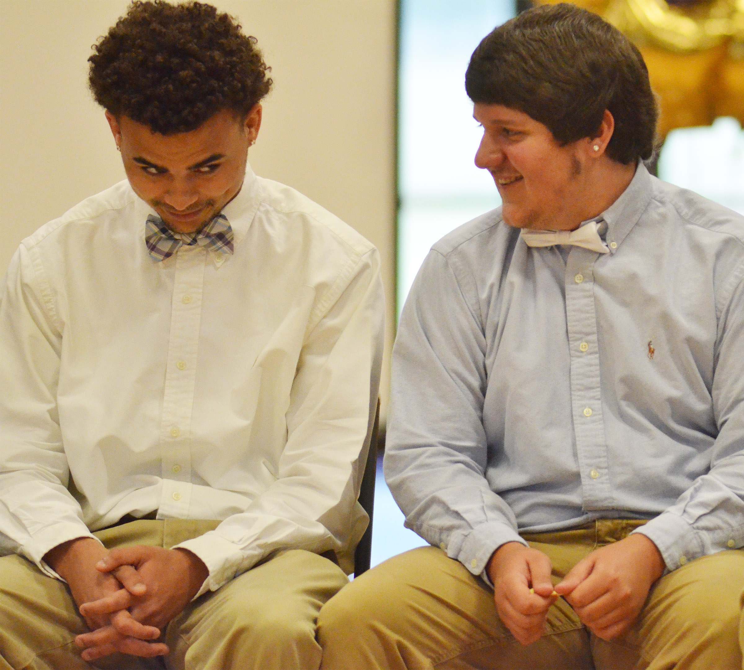 Arick Groves, at left, and Donnie Osinger talk during Class Night.
