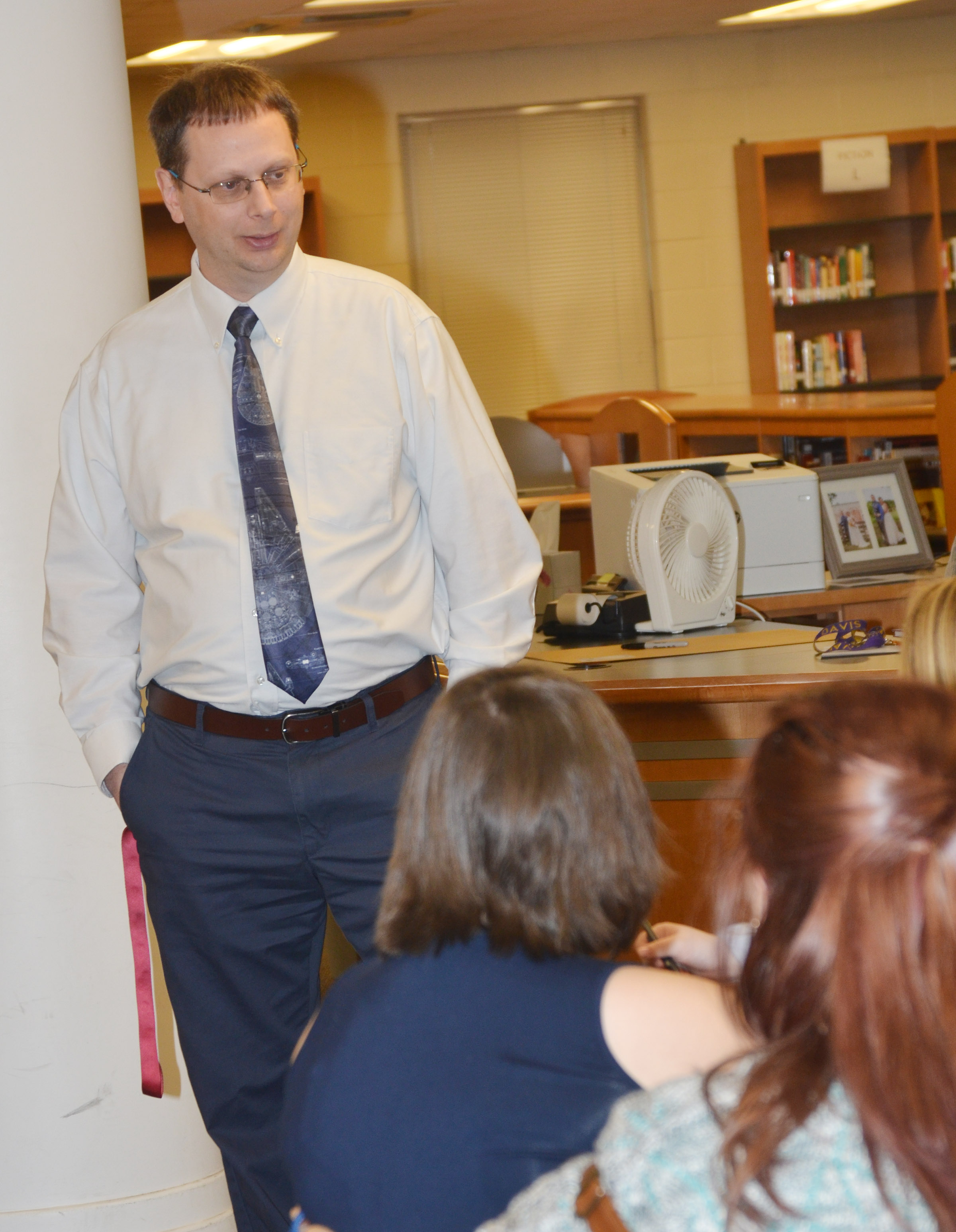 CHS Guidance Counselor Richard Dooley tells CU education students that working at a school is a very fast-paced job.
