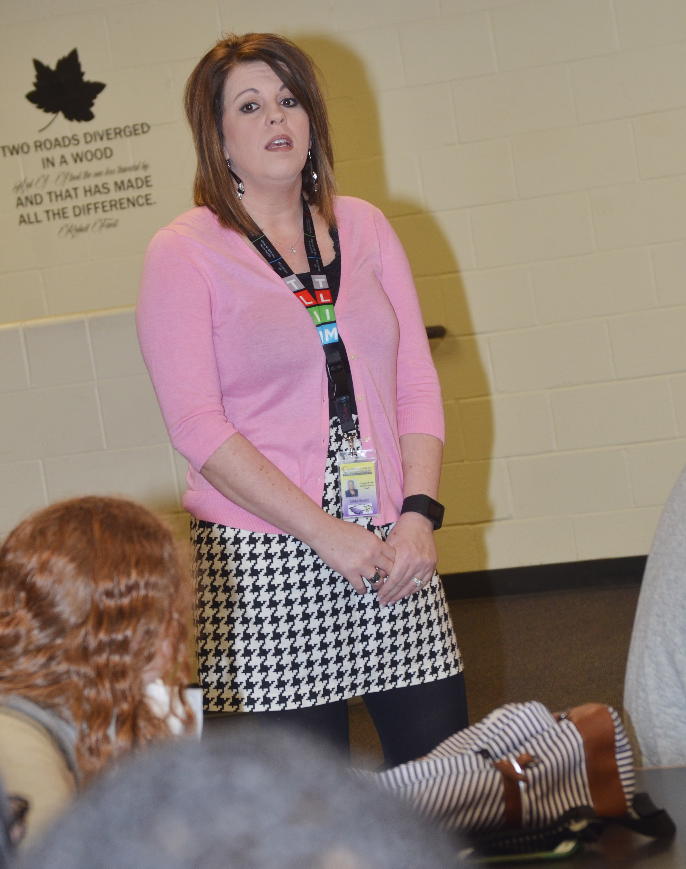 CMS Principal Elisha Rhodes, who is now principal at Campbellsville Elementary School, tells CU education students that they should take the opportunity to observe and become involved in the classroom.
