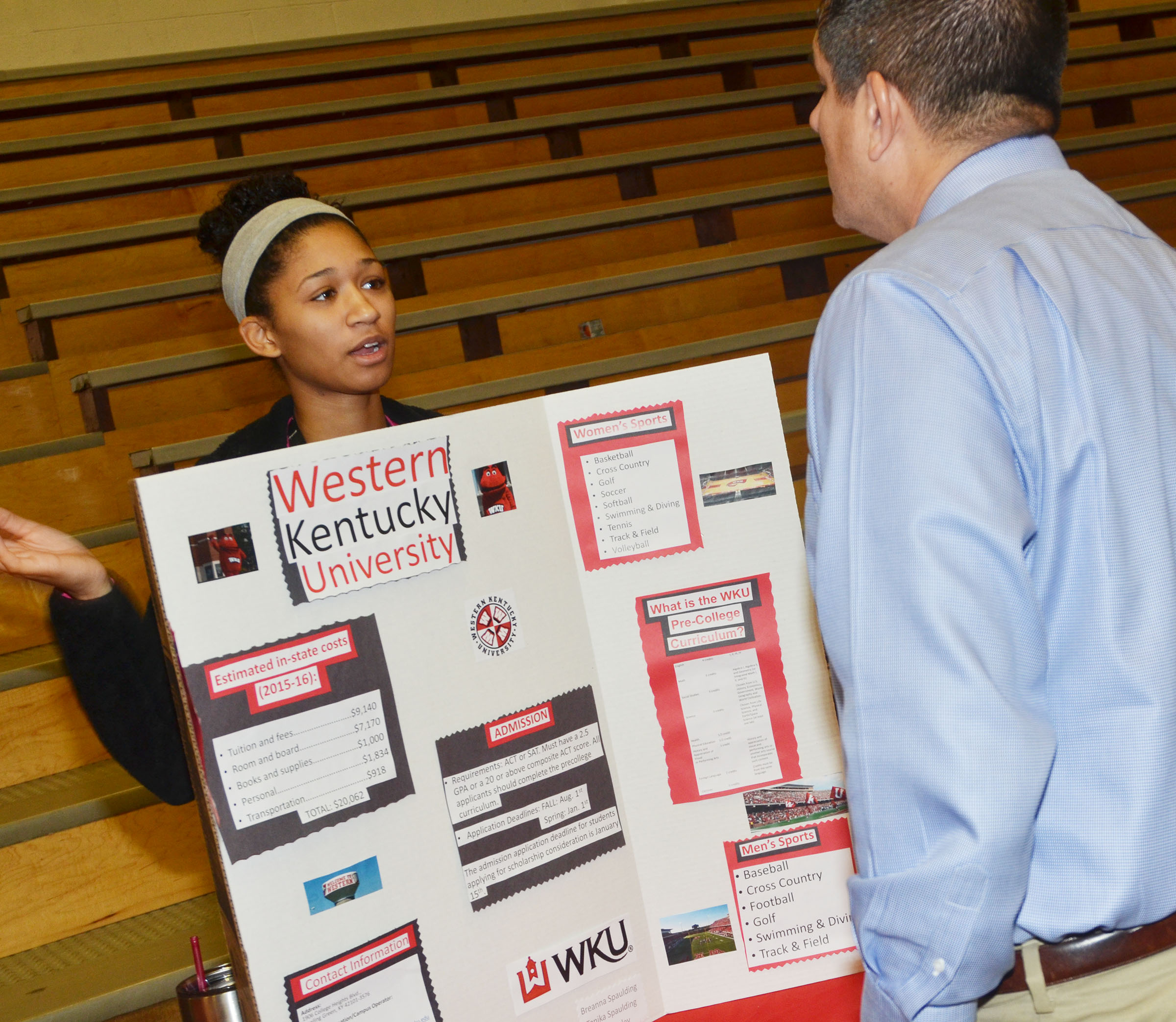 CHS senior Alexis Shears talks to Principal Kirby Smith about Western Kentucky University.