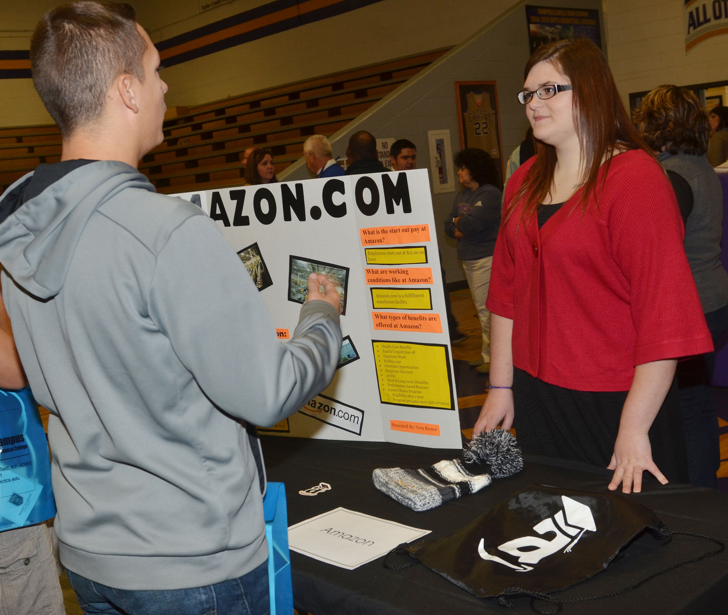 CHS senior Vera Brown talks to students about job opportunities at Amazon.