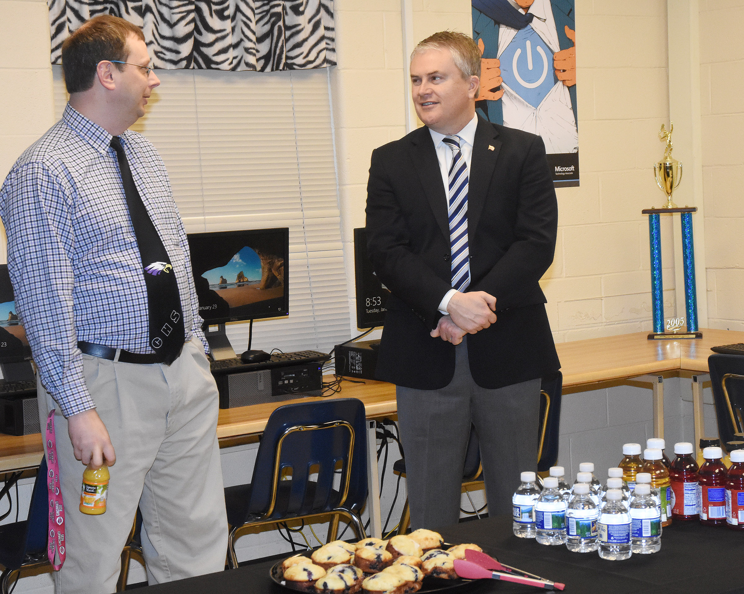 U.S. Rep. James Comer, R-Ky., at right, visited CHS on Tuesday, Jan. 23, to meet with CHS AP computer science students and Guidance Counselor Richard Dooley.