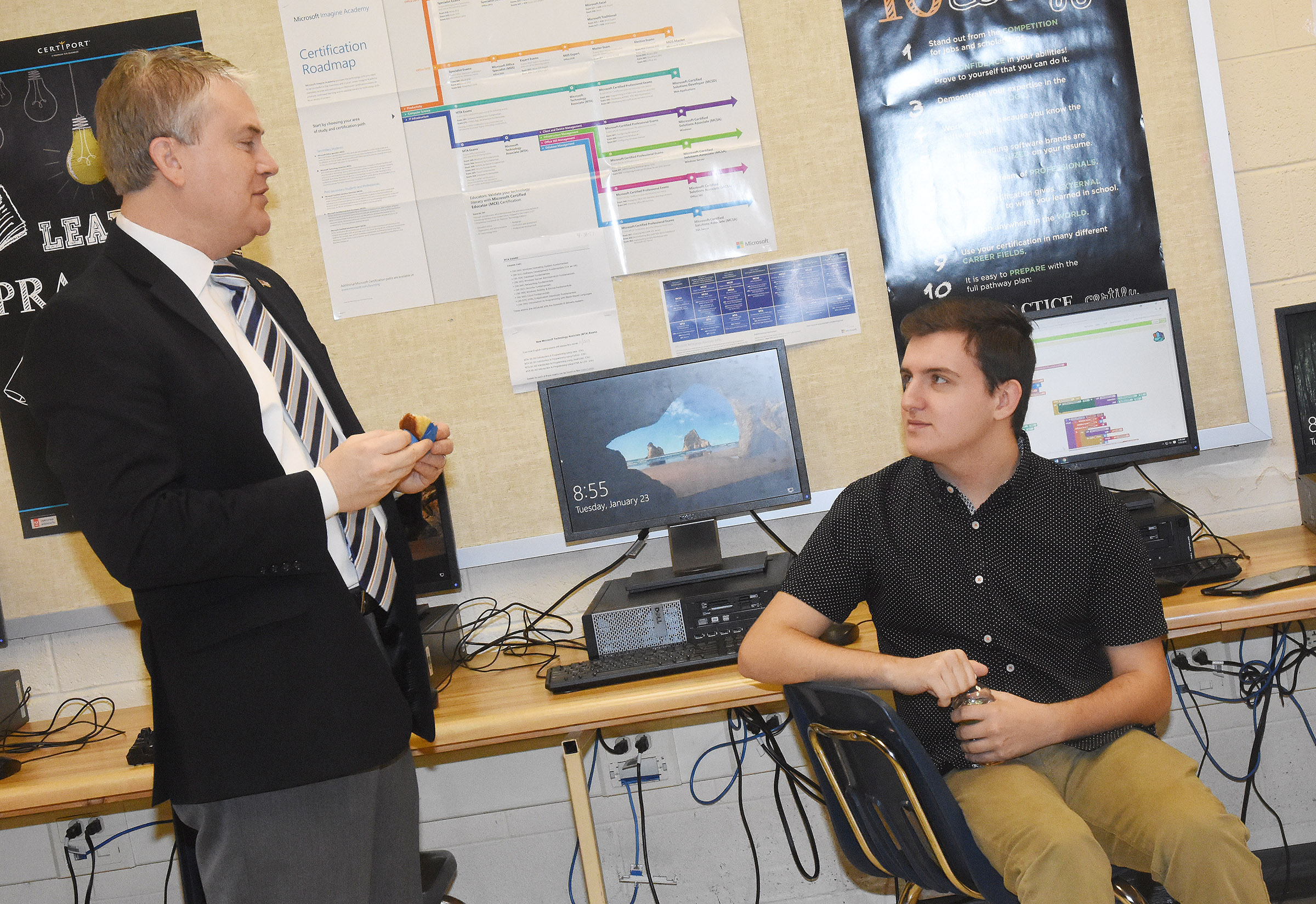 U.S. Rep. James Comer, R-Ky., visited CHS on Tuesday, Jan. 23, to meet with CHS AP computer science students. Comer, at left, is pictured with senior Austin Fitzgerald. Fitzgerald and fellow CHS senior Christian Berry recently won the First District 2017 Congressional App Challenge.