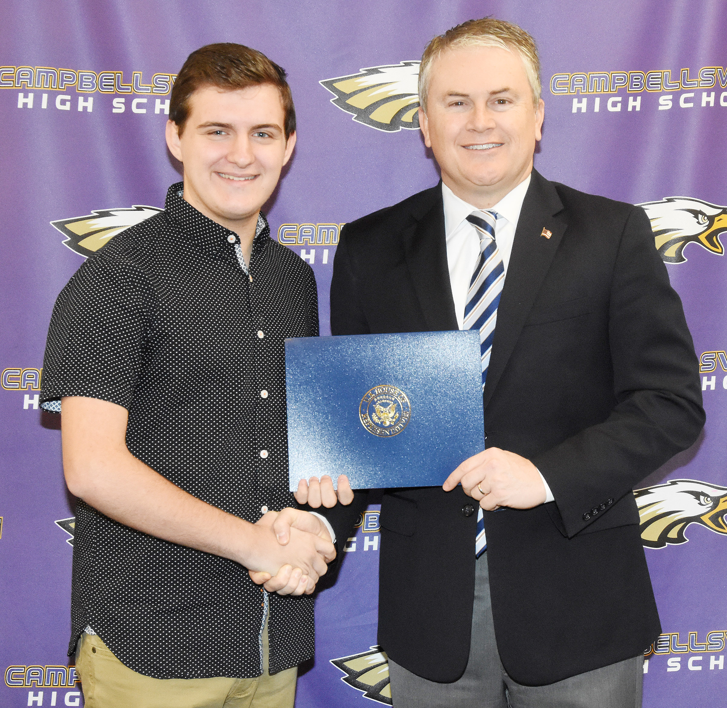U.S. Rep. James Comer, R-Ky., visited CHS on Tuesday, Jan. 23, to meet with CHS AP computer science students and to honor CHS seniors Austin Fitzgerald, at left, and Christian Berry, who recently won the First District 2017 Congressional App Challenge.