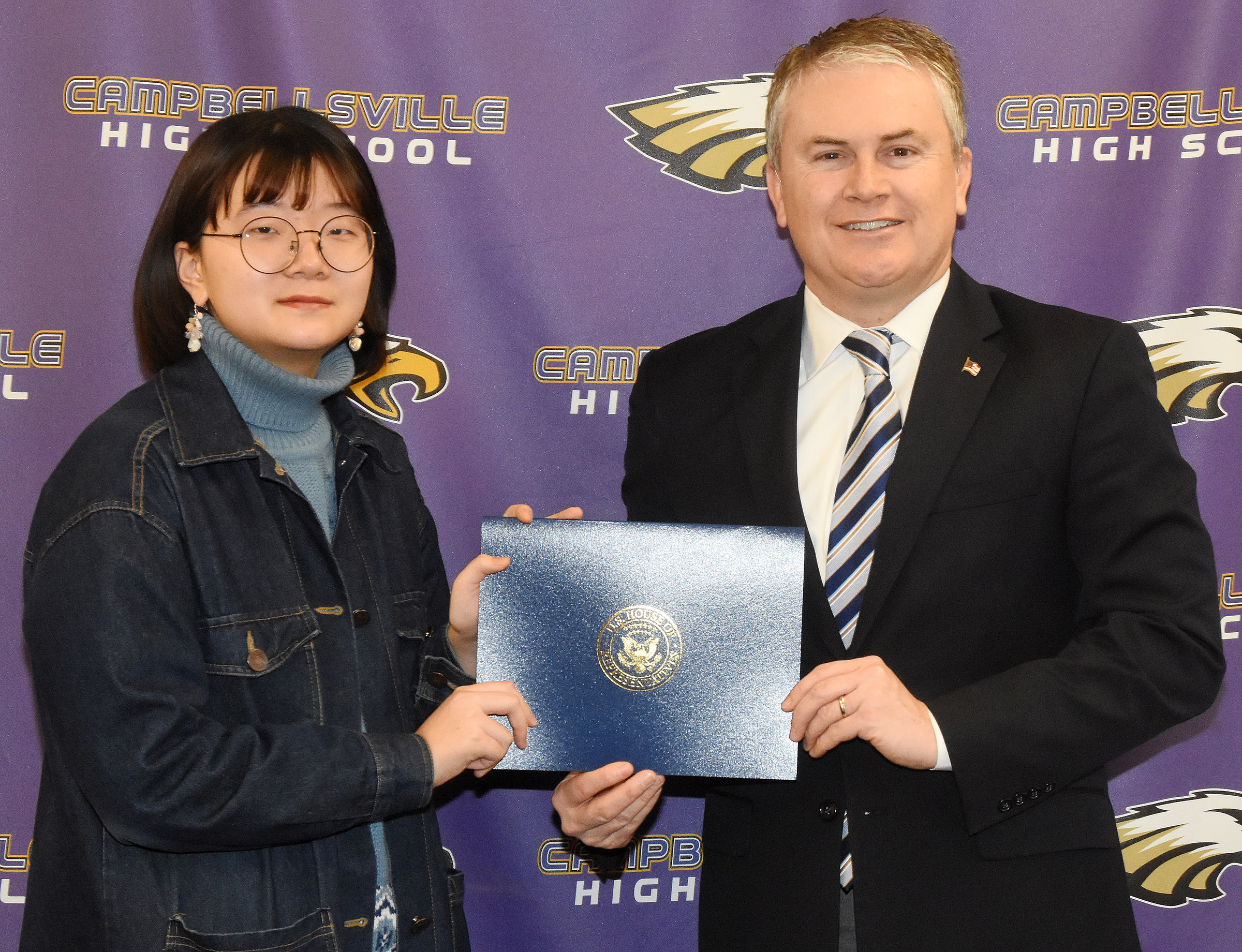 U.S. Rep. James Comer, R-Ky., visited CHS on Tuesday, Jan. 23, to meet with CHS AP computer science students and to honor CHS senior Hye Sue Cho, who participated in the First District 2017 Congressional App Challenge.