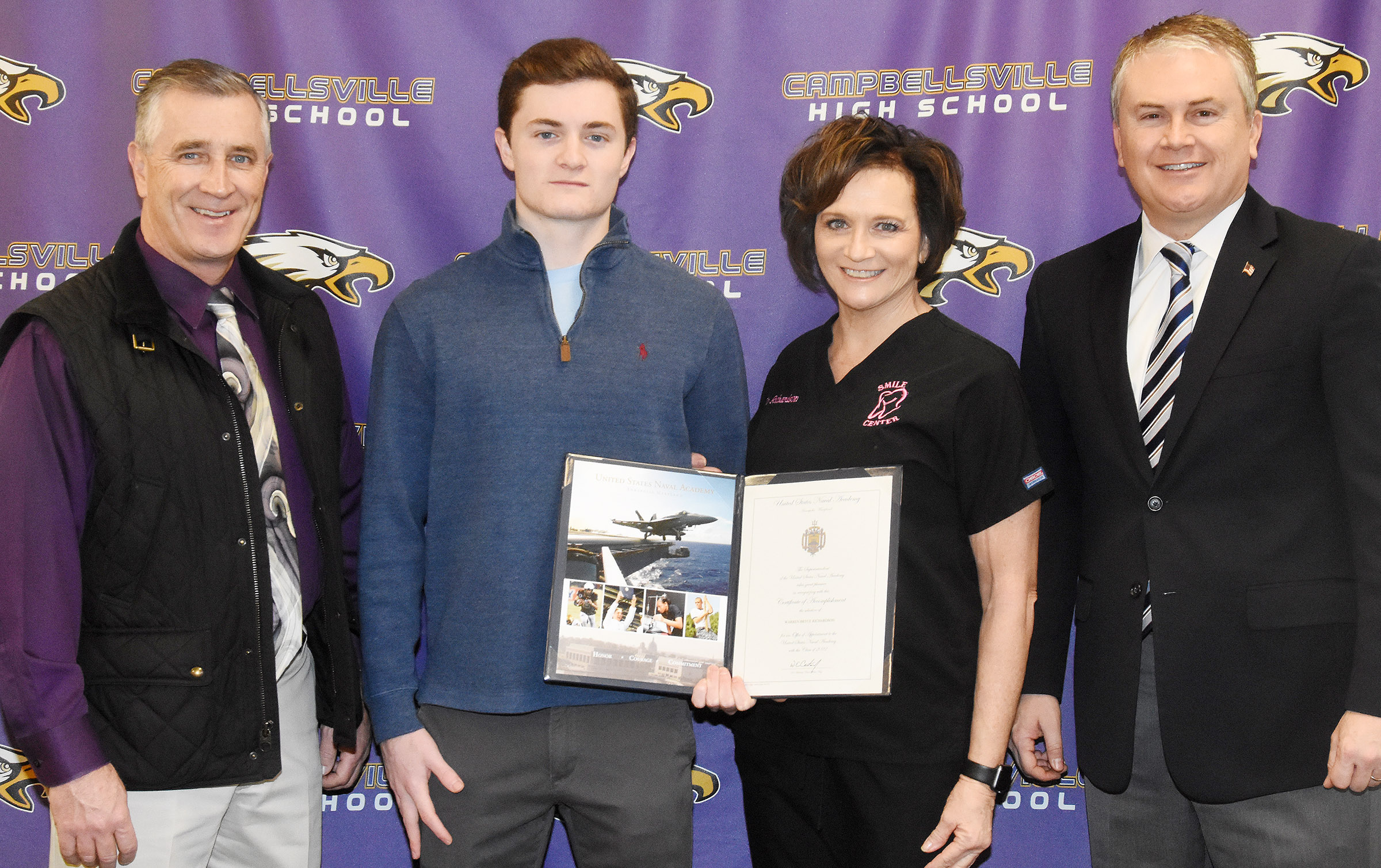 Campbellsville High School senior Bryce Richardson has been appointed to the U.S. Naval Academy, based on a nomination from U.S. Rep. James Comer, R-Ky. Comer came to CHS on Tuesday, Jan. 23, to meet with Richardson. From left are Bryce's father Jeff Richardson, Bryce, his mother Dr. Marlene Richardson and Comer.