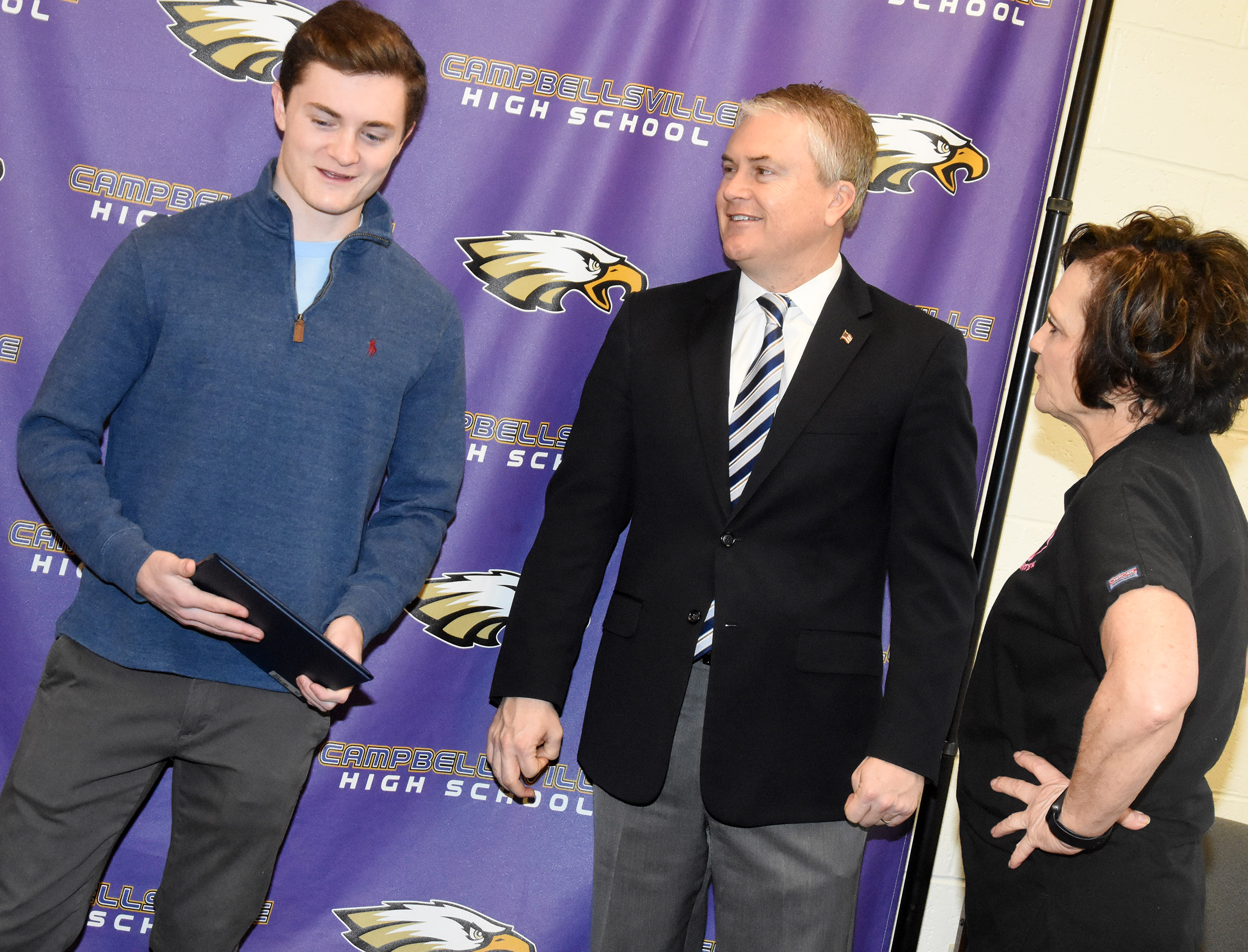 Campbellsville High School senior Bryce Richardson has been appointed to the U.S. Naval Academy, based on a nomination from U.S. Rep. James Comer, R-Ky. Comer came to CHS on Tuesday, Jan. 23, to meet with Richardson. Above, Bryce talks with his mother, Dr. Marlene Richardson, and Comer.