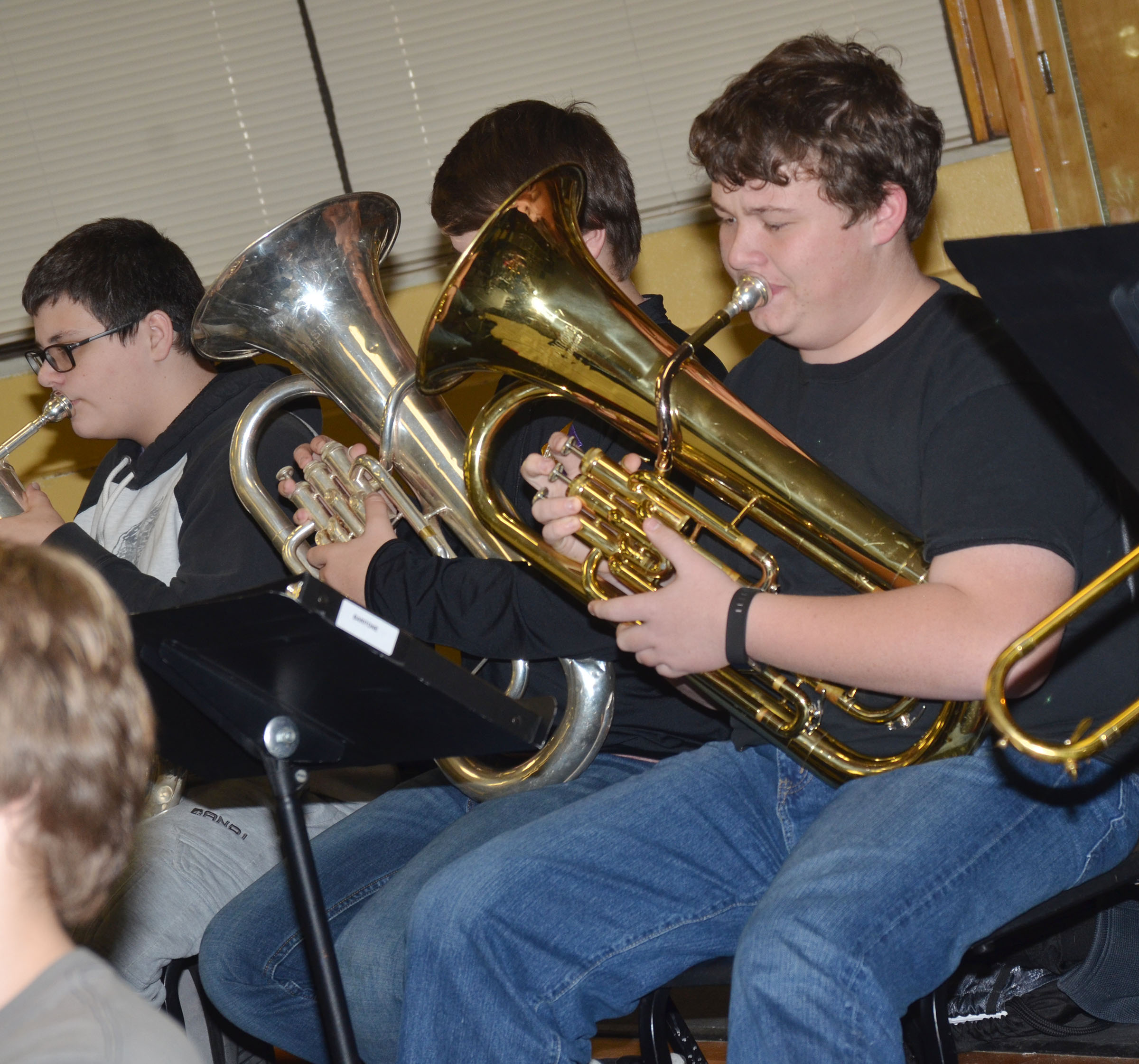 "CHS freshman Conner Riley plays ""Arrows"" on trombone."