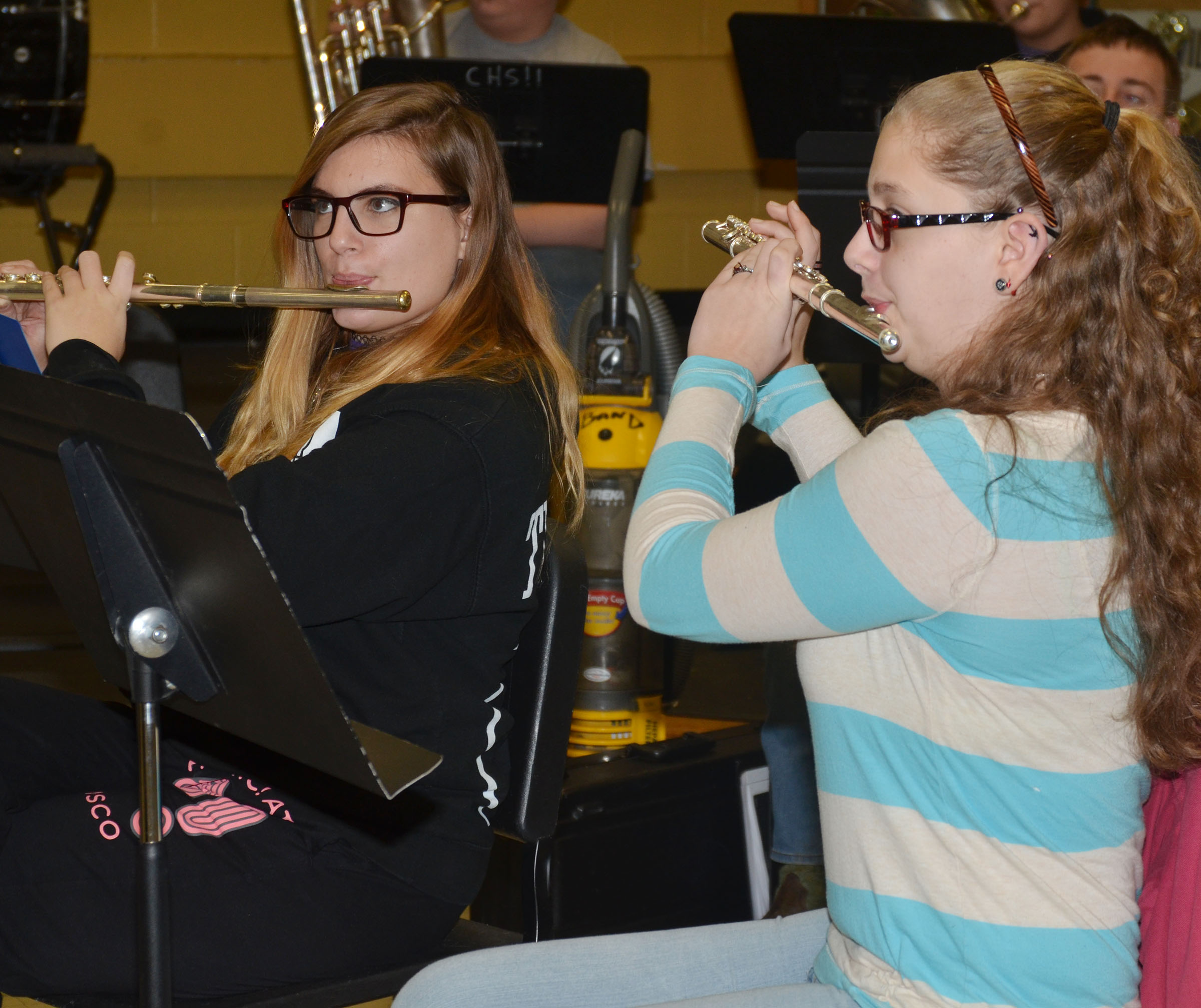 "CHS junior Tiffany Kane, at left, and senior Alexis Underwood play ""Arrows"" on flute."