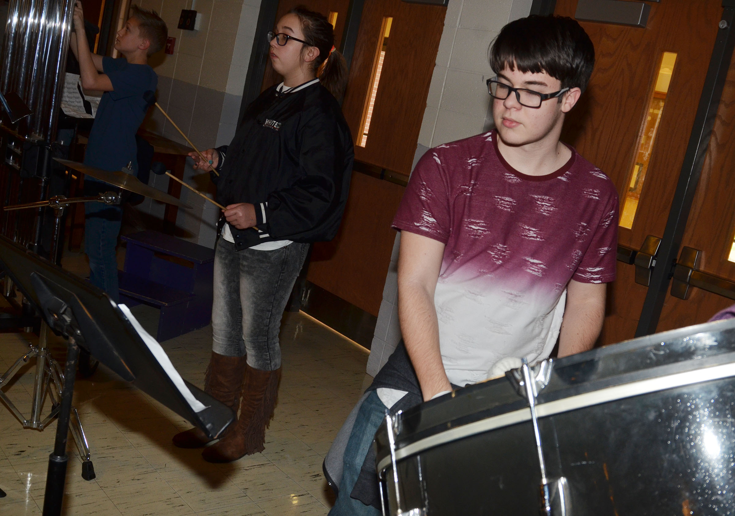 "CHS sophomore Kyler Rakes and the other concert band percussionists practice ""Arrows."""