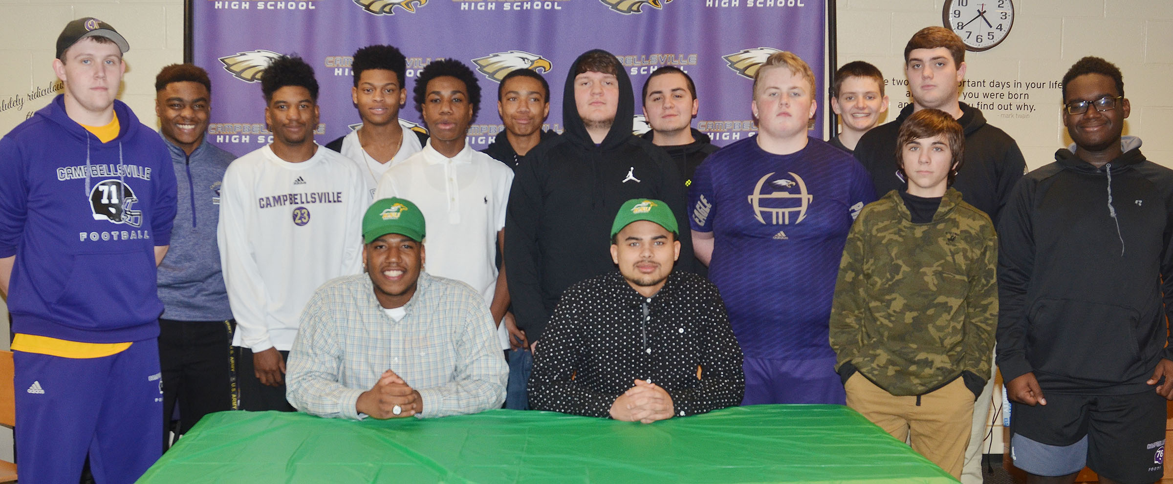 CHS seniors Micah Corley and Arick Groves will continue their academic and football careers at Kentucky State University this fall. The two signed their letters of intent in a special ceremony on Monday, Feb. 6. Pictured with Corley, front, at left, and Groves are their football teammates. Back, from left, senior Jared Brewster, sophomore Charlie Pettigrew, juniors Tyrion Taylor and Devonte Cubit, freshman Malachi Corley, who is Corley's brother, freshman Lathan Cubit, senior Donnie Osinger, former CHS junior Josh Tamez, junior Ryan Jeffries, freshman Blake Allen, sophomore Lane Bottoms, junior Austin Carter and freshman Taekwon McCoy.