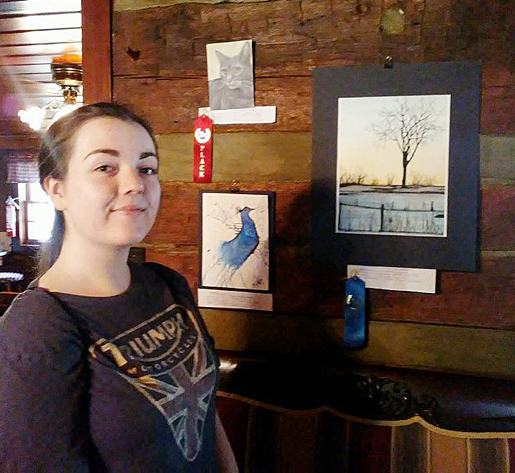 "CHS senior Tiffany Stagner won first and second place in the high school student juried show at Campbellsville University's ""A Day in the Visual Arts"" event."