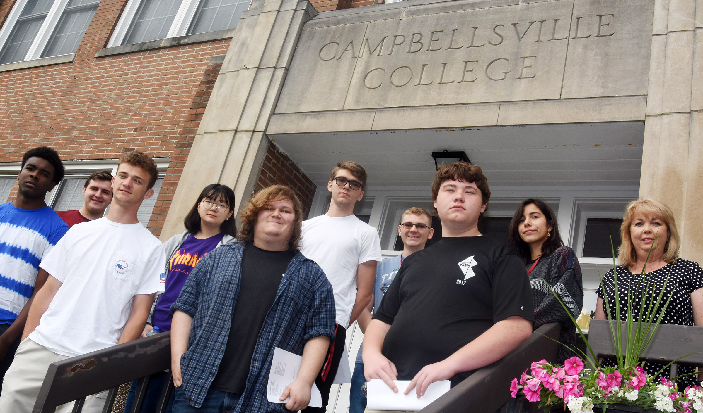 From left, CHS seniors Chanson Atkinson, Austin Fitzgerald, Connor Wilson and Hye Su Cho, junior Randy Harris, senior Christian Berry, junior Brandon Greer, sophomore Conner Riley, junior Celeste Hassman and teacher Sonya Kessler recently took a trip to Campbellsville University to learn about computer science careers.