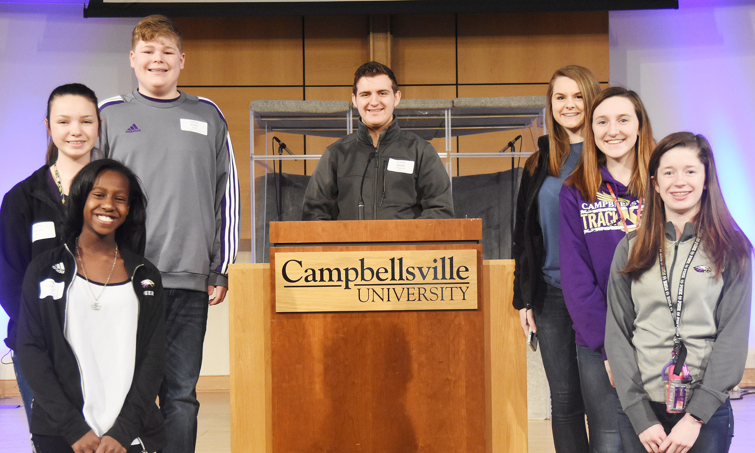 Campbellsville middle and high school students attending the Kentucky High School Journalism Association workshop are, from left, front, eighth-grader Myricle Gholston and Gracyne Hash. Second row, eighth-grader Karley Morris and sophomore Zoe McAninch. Back, eighth-grader Blake Settle, senior Austin Fitzgerald and freshman Taylor Knight.