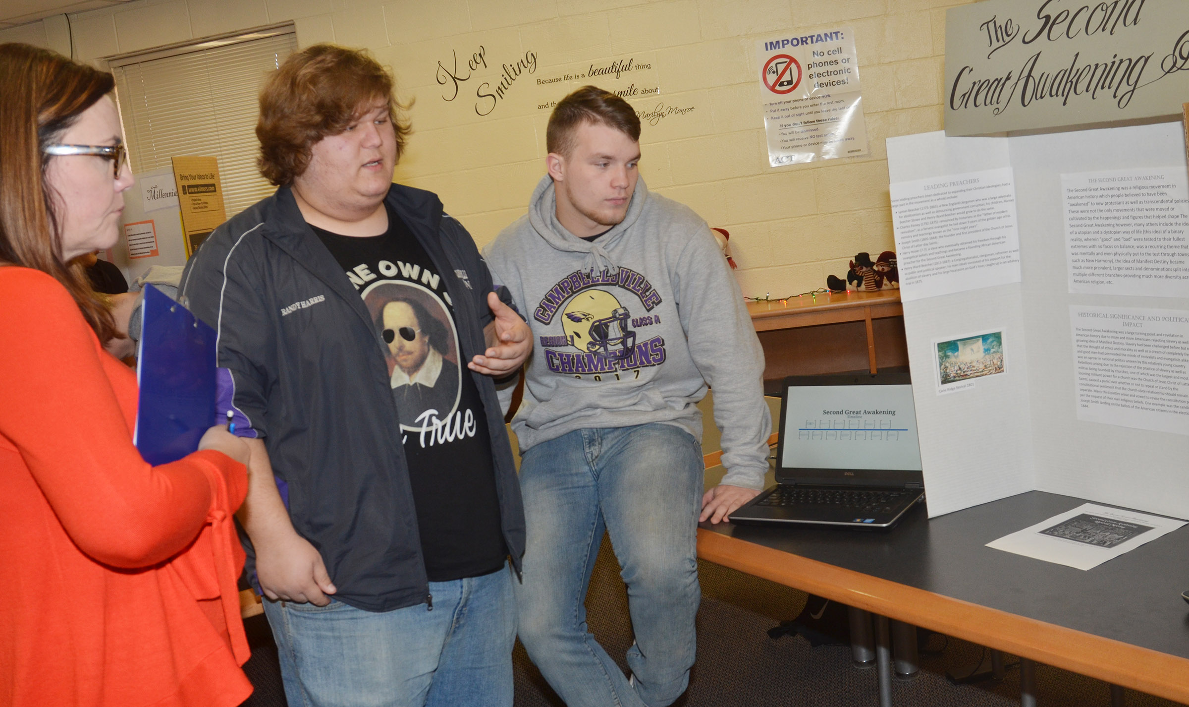 CHS juniors Randy Harris, at left, and Dakota Reardon present about the Second Great Awakening reform movement.